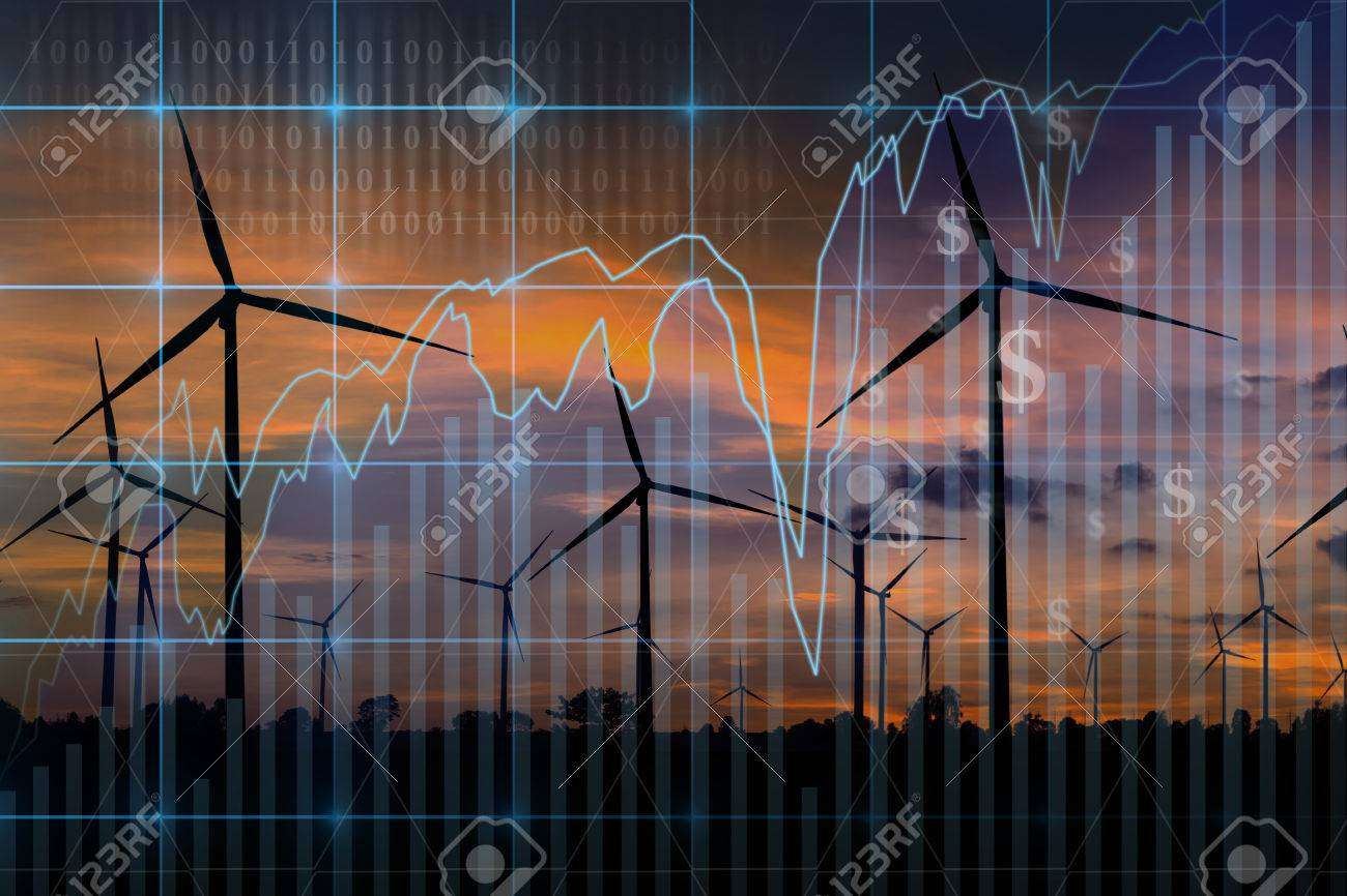 Trading graph on Wind turbine power generator at twilight time background,Business financial concept - 61946665