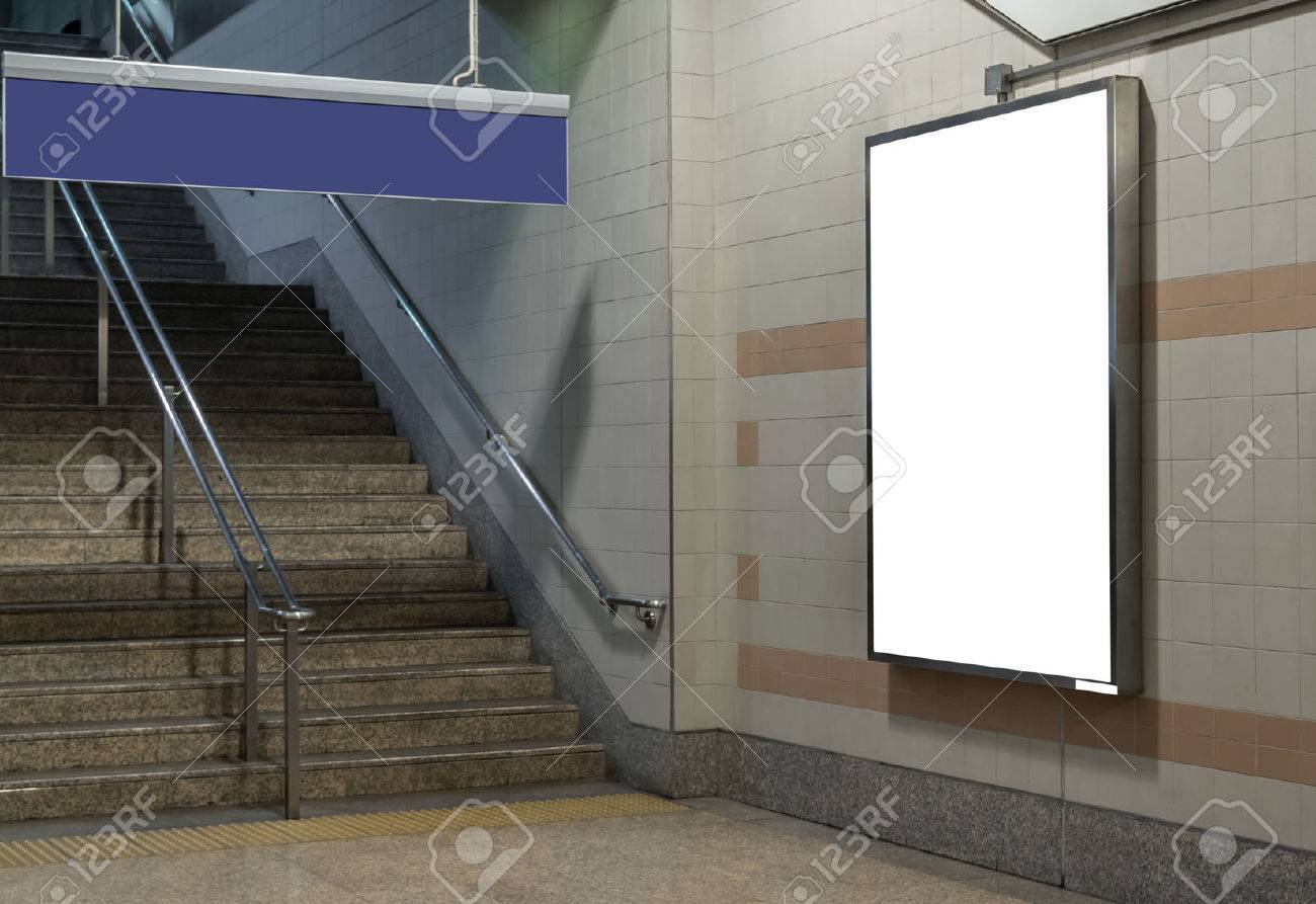 Blank billboard located in underground hall or subway for advertising, mockup concept, Low light speed shutter - 66137067