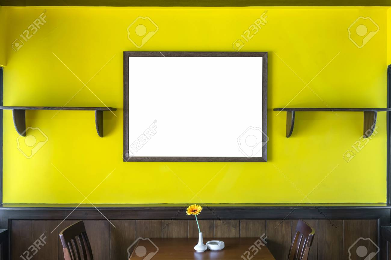 Luxury Restaurant Set With Yellow Color Wall With Big Photo Frame ...