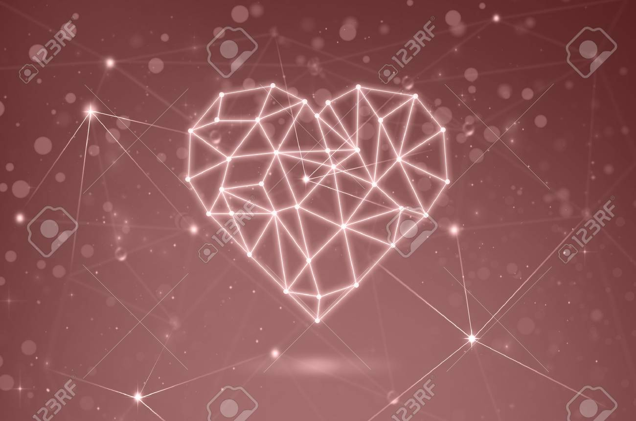 Polygonal Heart Shape Writing By Lines And Dots With Shadow Over Blurred Bokeh Technology Connection