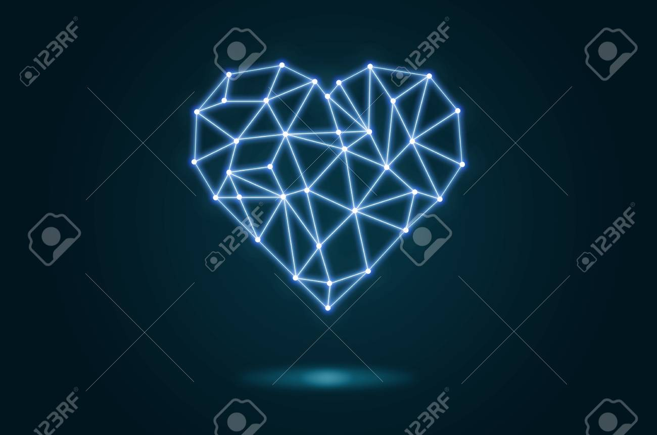Polygonal Heart Shape Writing By Lines And Dots With Shadow Over Blue Background Physician Technology