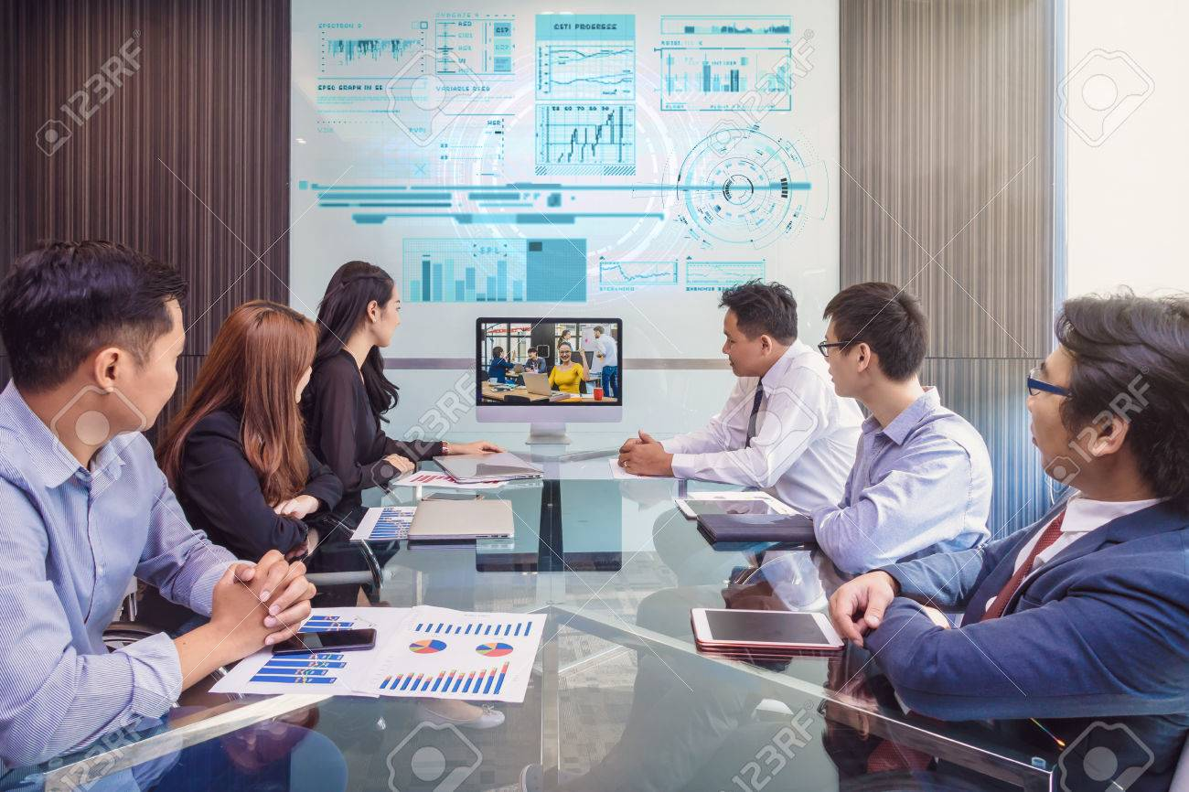 Group of asian Business team having video conference with their manager via monitor display in the modern conference room, Business people meeting concept - 80562446