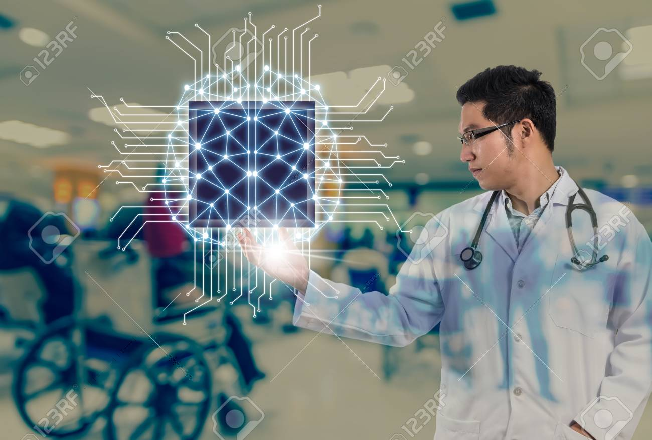 Asian Doctor with the stethoscope equipment hand holding the Artificial intelligence of brain technology over Abstract photo blurred of hospital background, AI and physician concept - 92519180