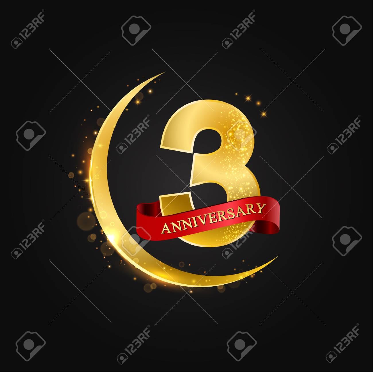 Eid Al Adha 3 Years Anniversaryttern With Arabic Golden Gold