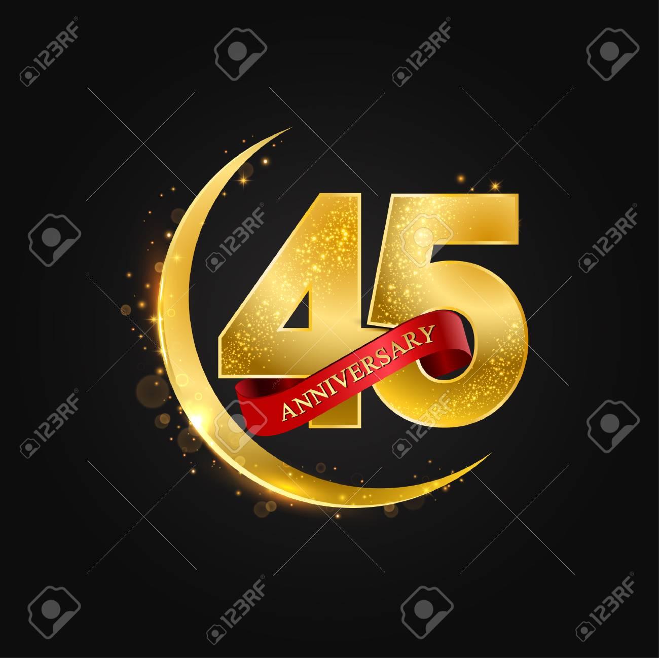 Eid Al Adha 45 Years Anniversaryttern With Arabic Golden