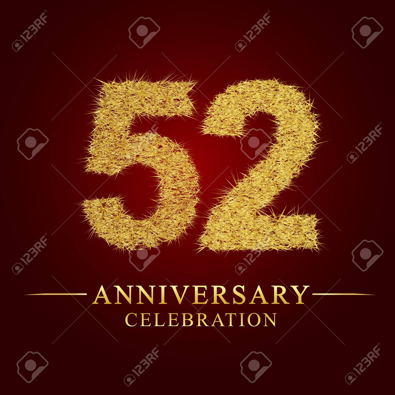 52 years anniversary celebration logotype. Logo gold pile of dry rice on red background. Number nest and fuzz gold foil. - 106166967