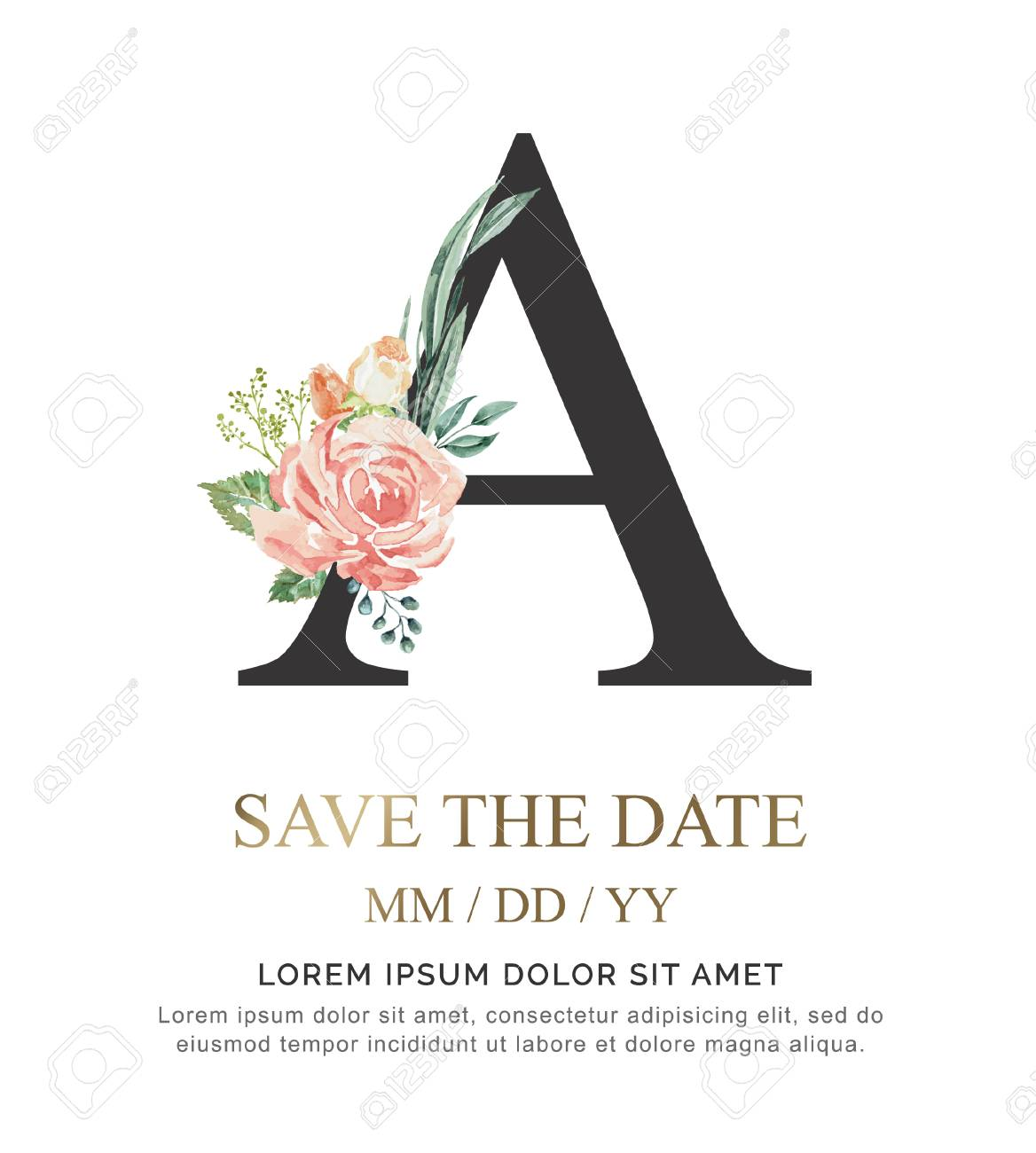Alphabet A flower font made of paint floral and leaf watercolor on paper. Vector Hand Drawn letter A paint luxury design. Sweet collection for wedding invites decoration card and other concept ideas. - 107369918