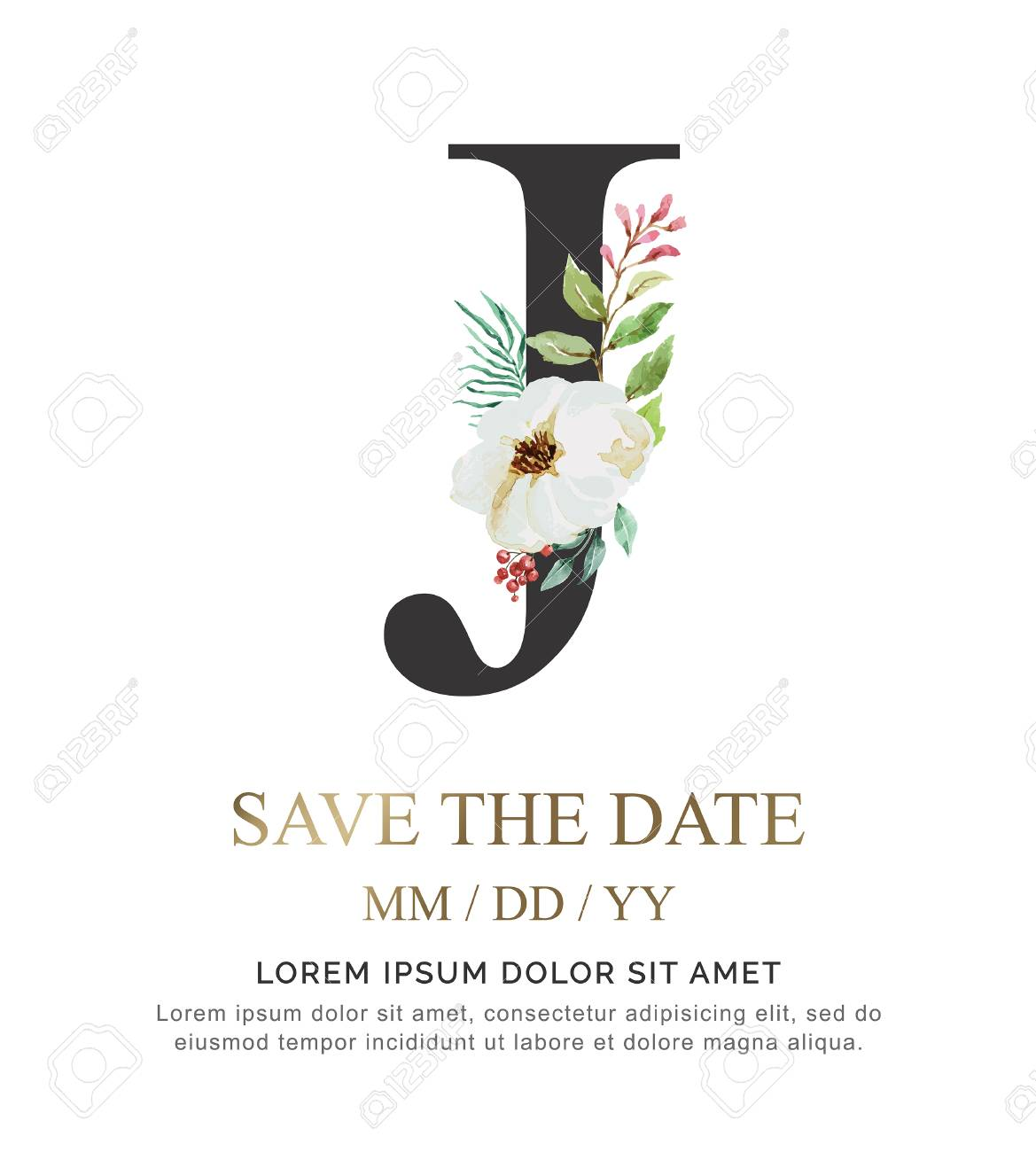 Alphabet J flower font made of paint floral and leaf watercolor on paper. Vector Hand Drawn letter J paint luxury design. Sweet collection for wedding invites decoration card and other concept ideas. - 107369933