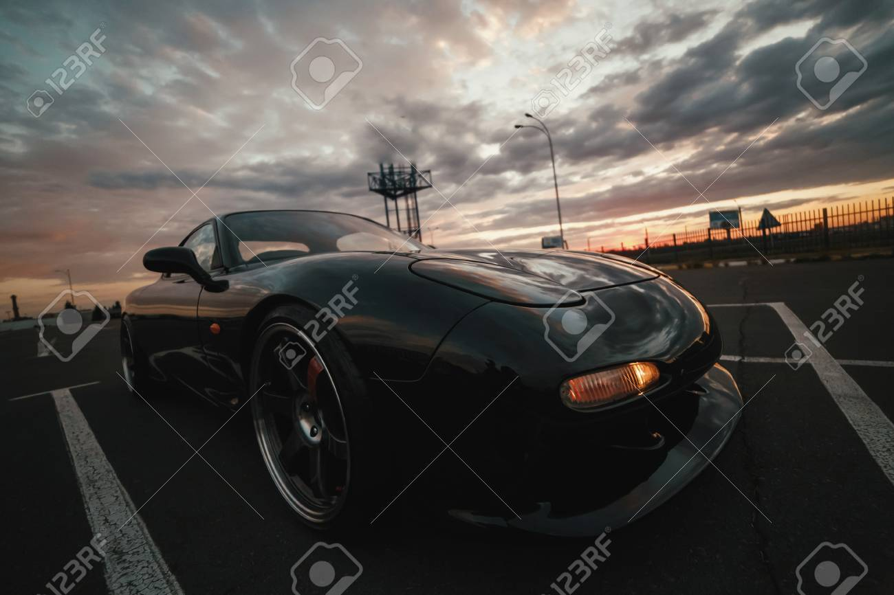 Classic Japan Sport Car On Sunset Stock Photo   98991551