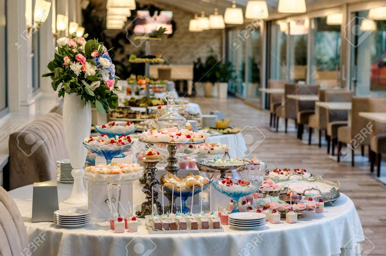 Delicious Wedding Reception Candy Bar Dessert Table Full With