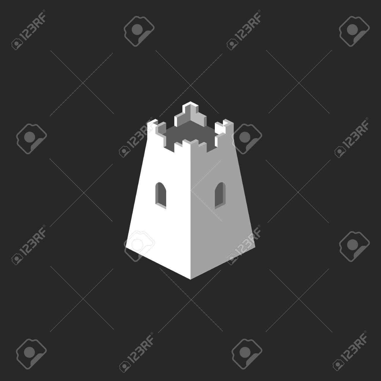 Tower Abstract 3D Mockup Castle Icon Business Card Symbol Template Stock Vector
