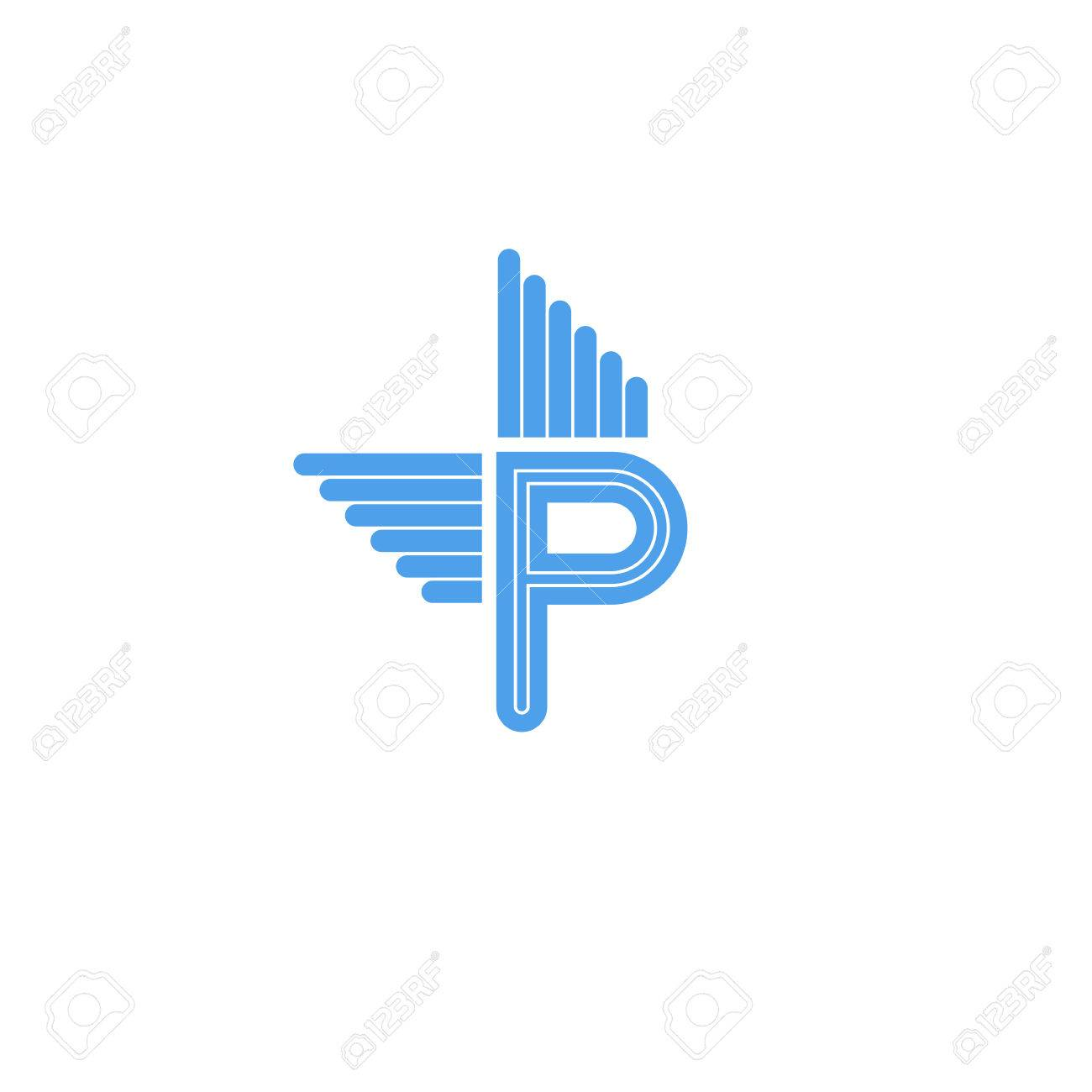 Letter P Logo With Blue Wings Flying Concept Symbol For Business