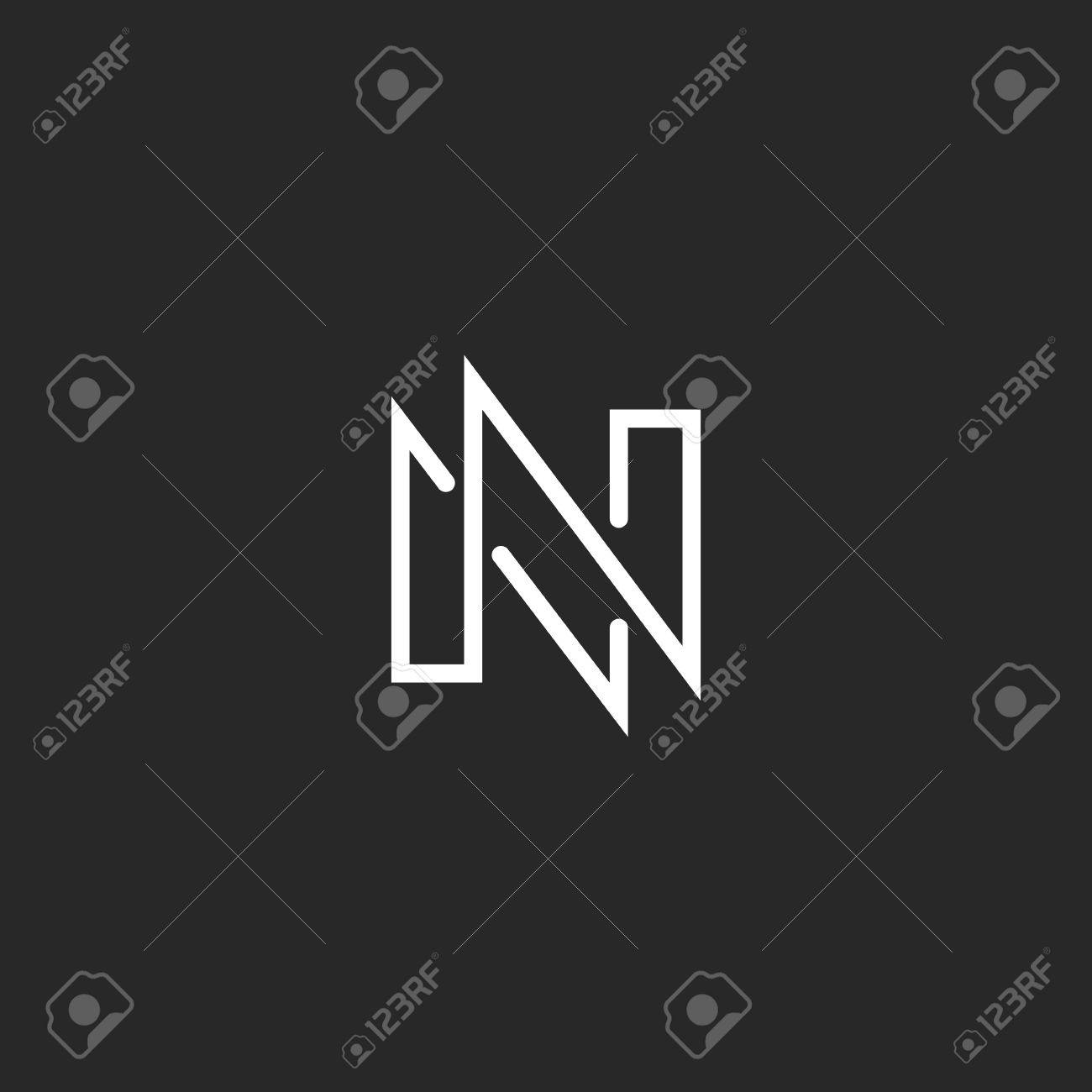 Modern Monogram Letter N Logo Black And White Business Card