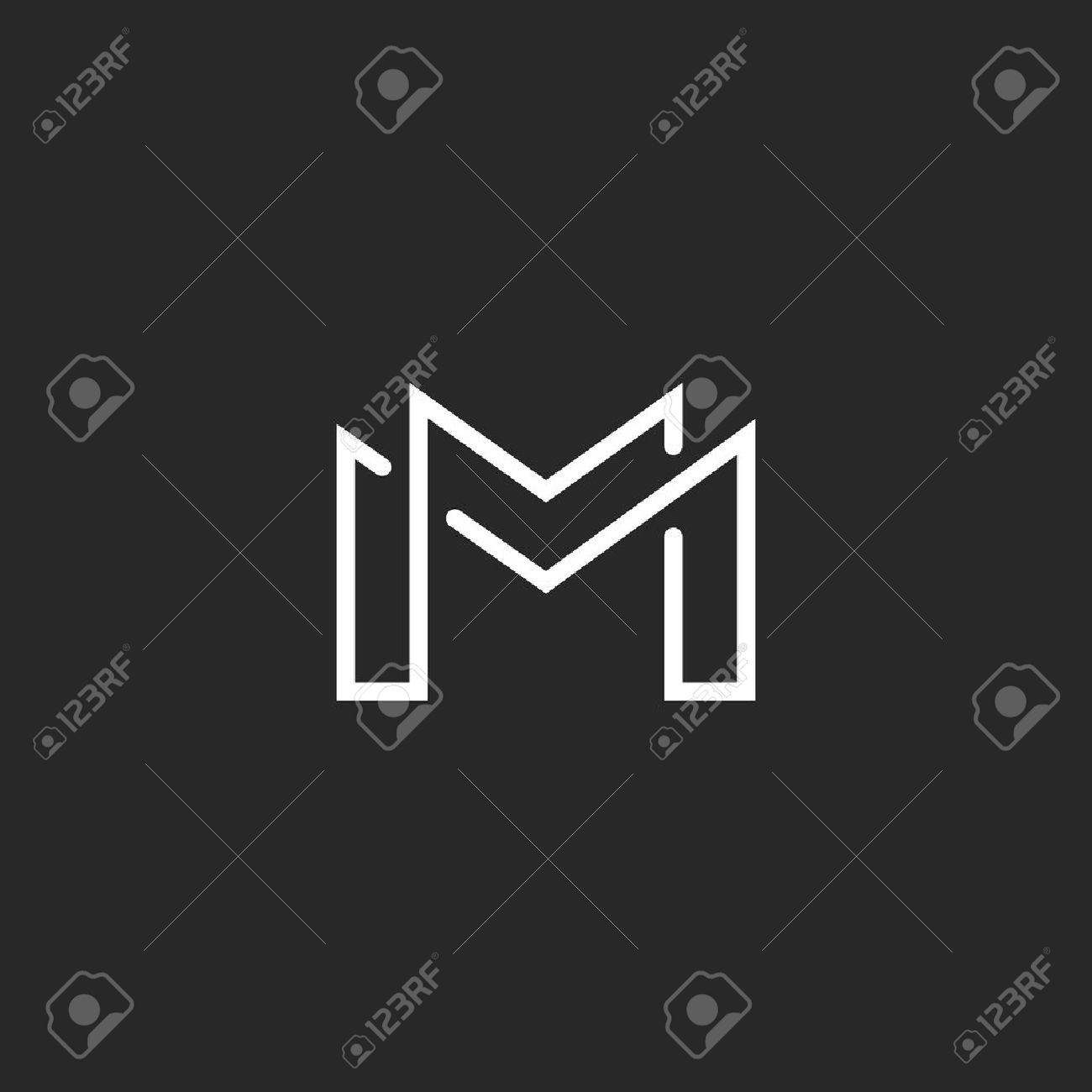 Letter m logo or two modern monogram symbol mockup black and letter m logo or two modern monogram symbol mockup black and white business card stock reheart Gallery