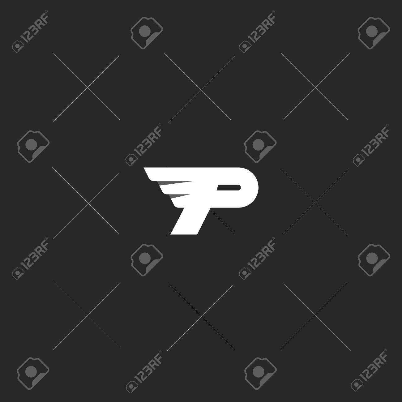 Letter P Logo Mockup Modern Business Card Flying Symbol Delivery Company Emblem Stock Vector