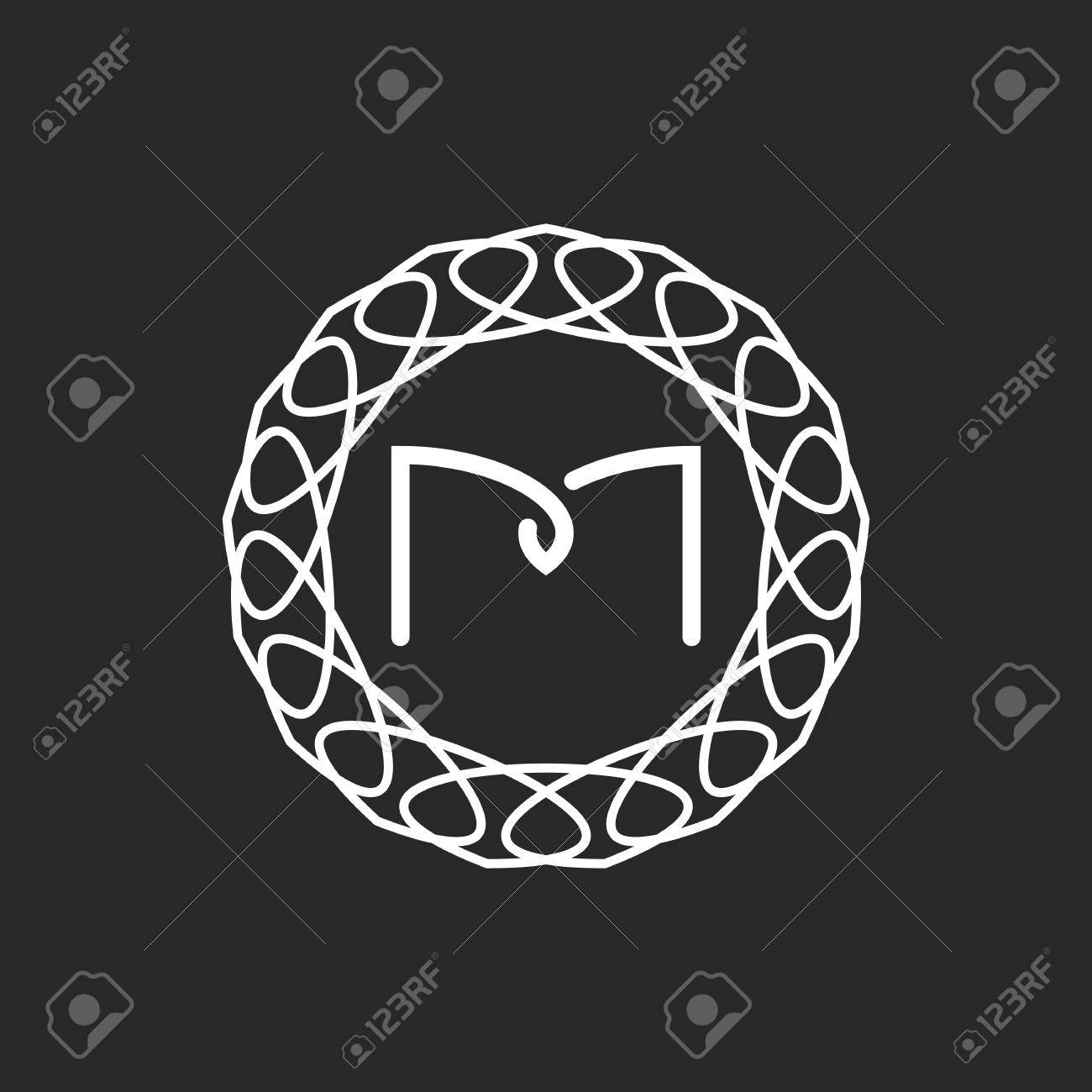 Letter M Logo Monogram Frame Mockup For Wedding Invitation Or