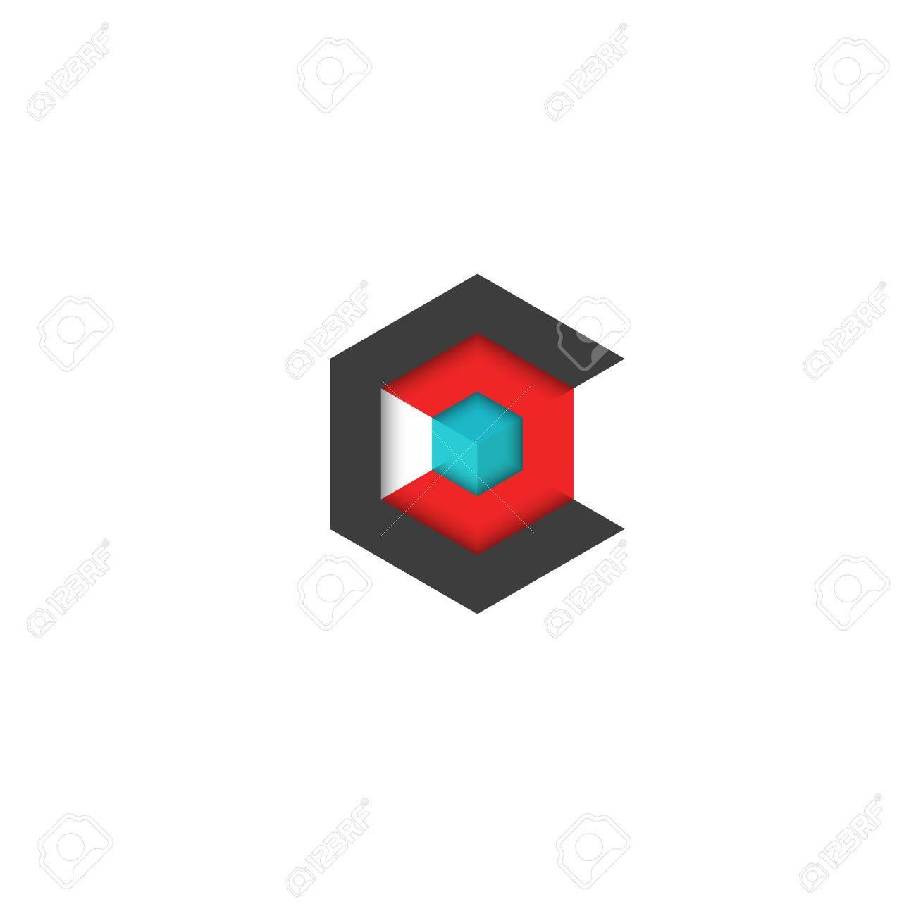 C Cube Isometrique 3D Hexagone Abstrait Symbole De La Technologie
