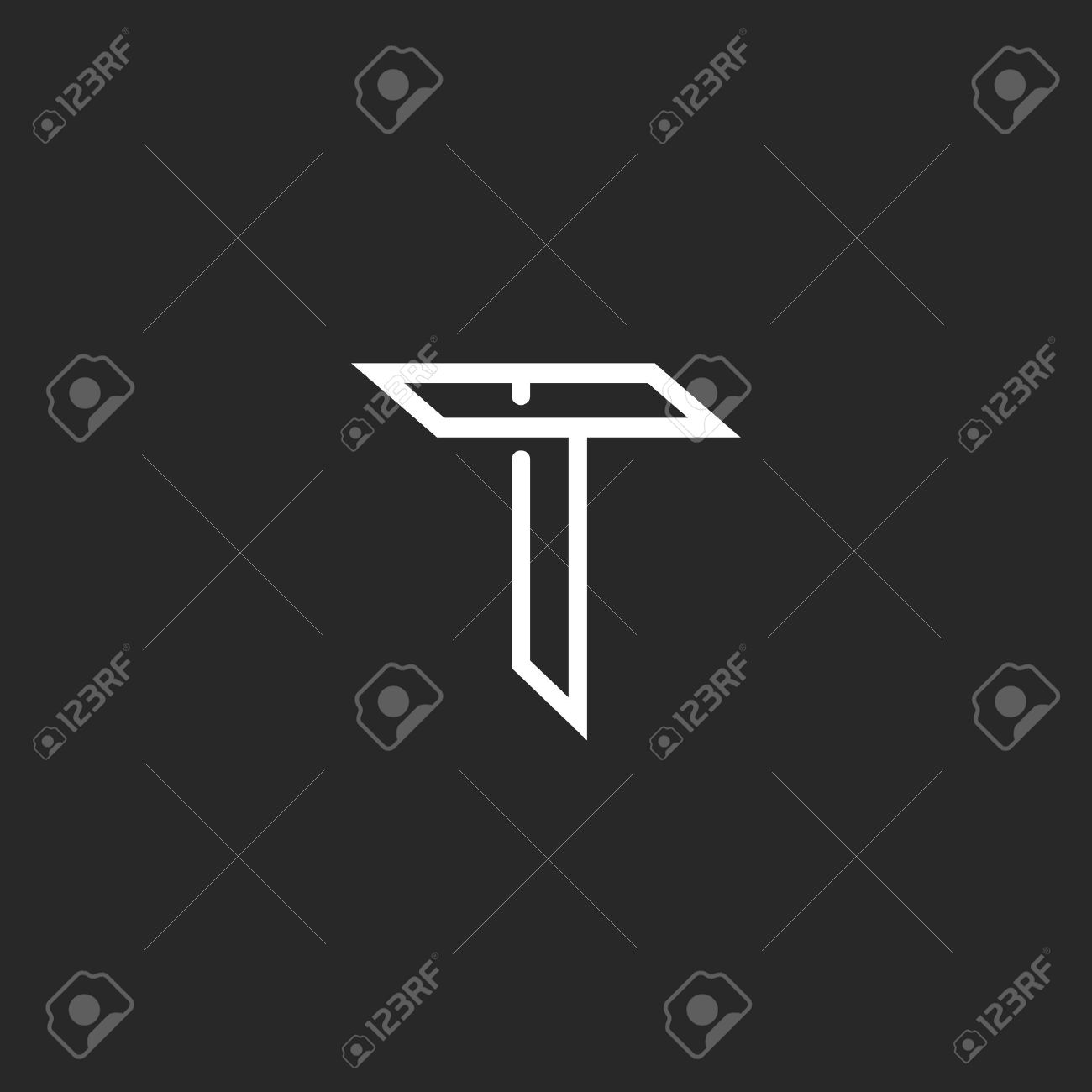t letter logo mockup line monogram symbol for wedding invitation or business card stock vector