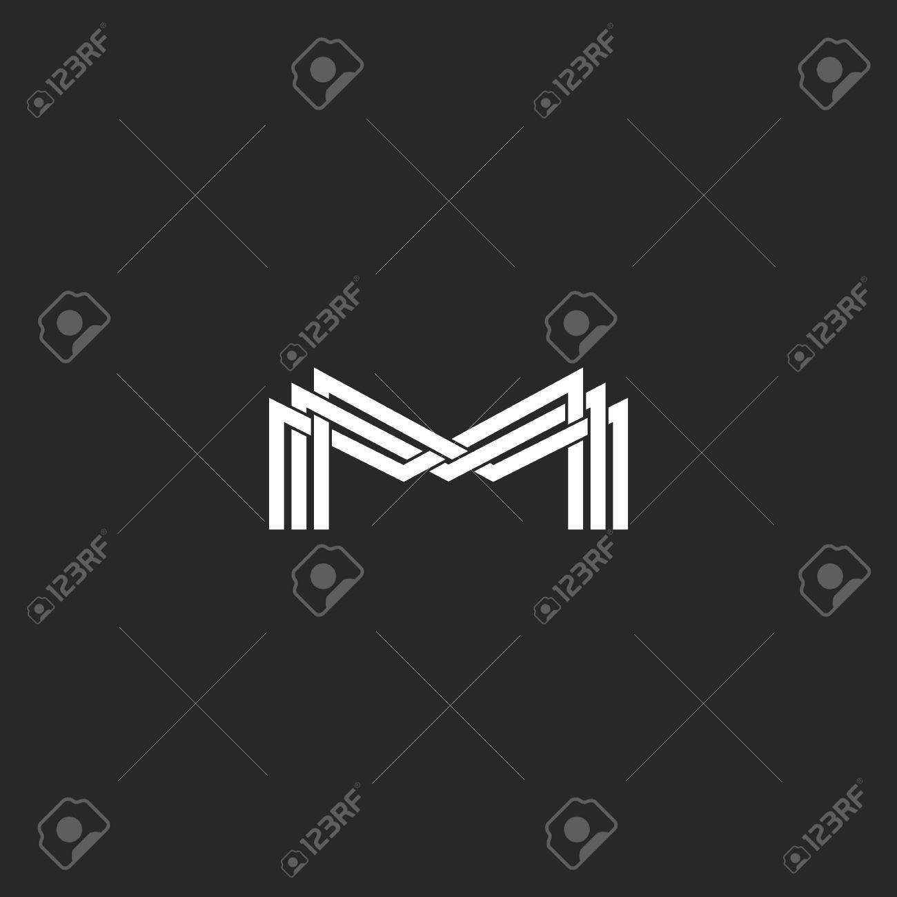 M Letter Monogram Logo Black And White Mockup Business Card