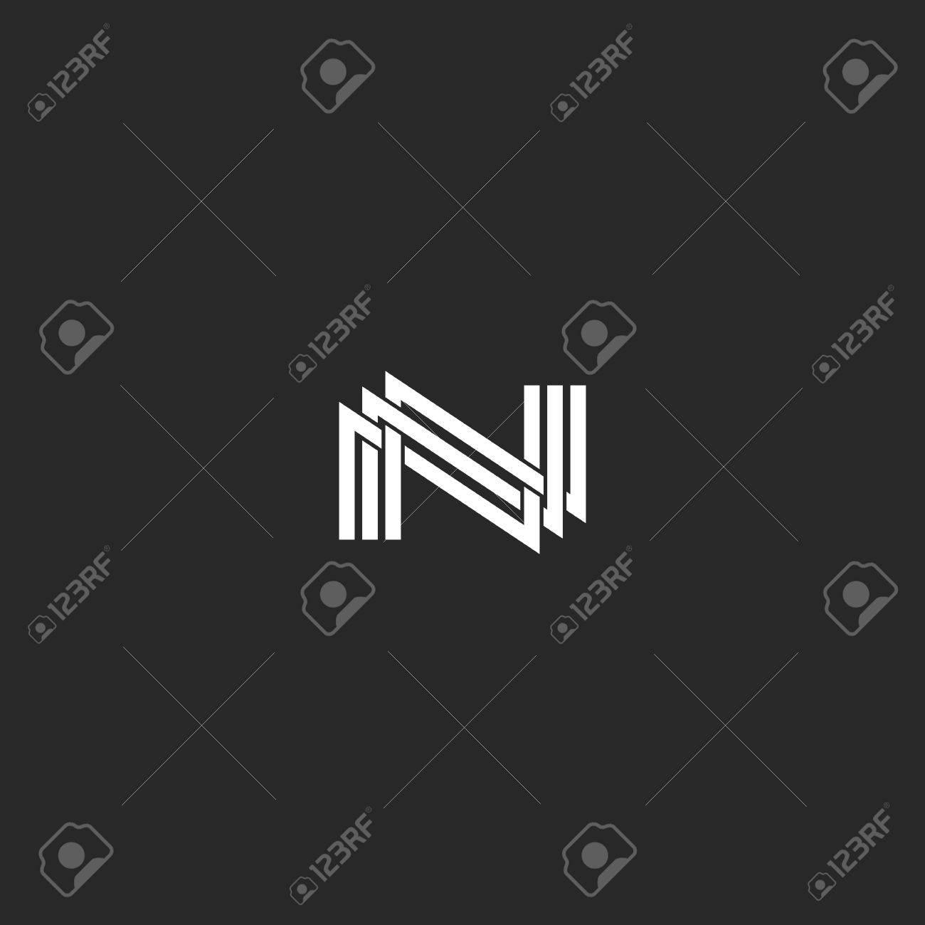 Großartig N Monogramm Buchstabe Logo, überlappende Dünne Linie, Design Element  Hochzeit,