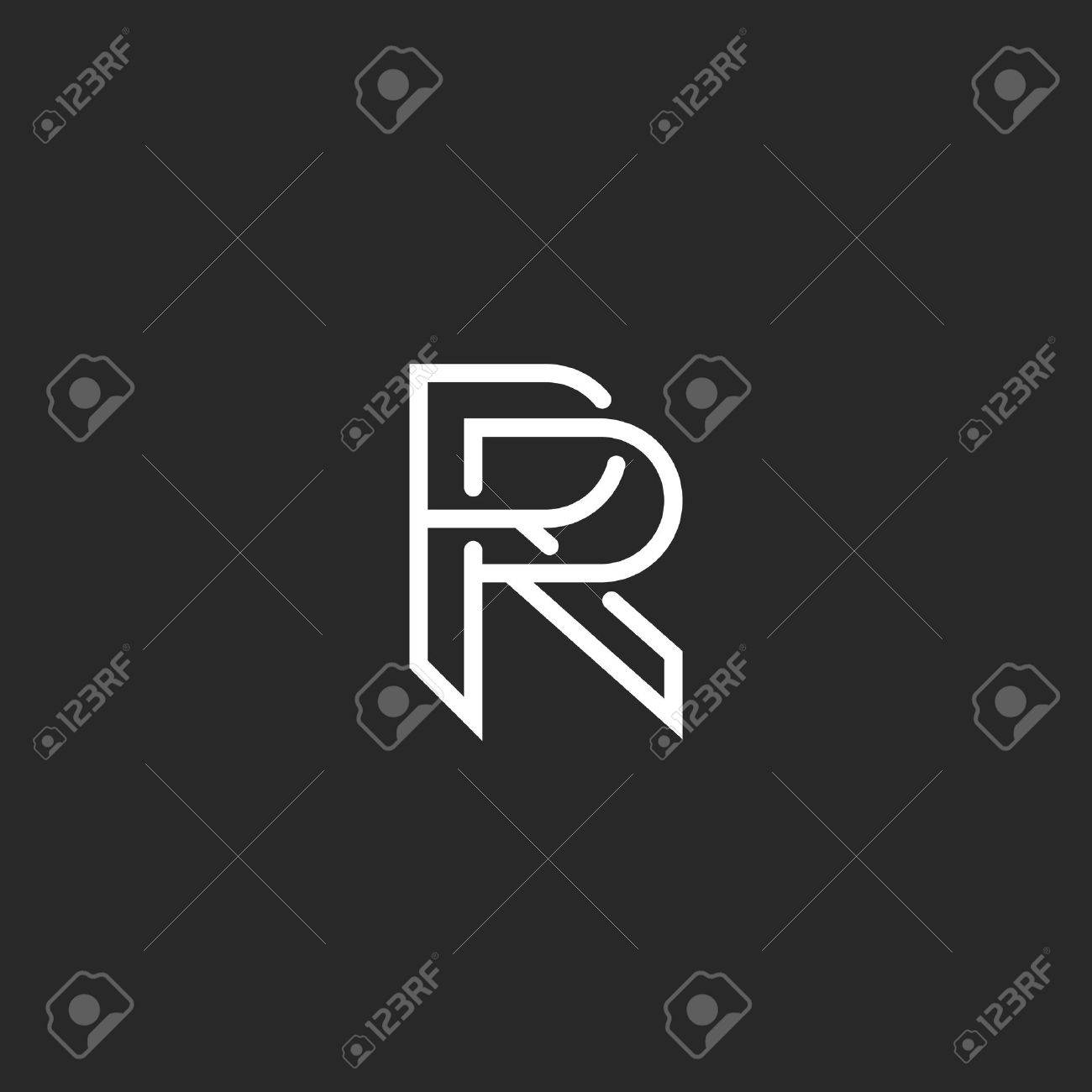 Letter R Logo Monogram, Mockup Hipster Black And White Design ...