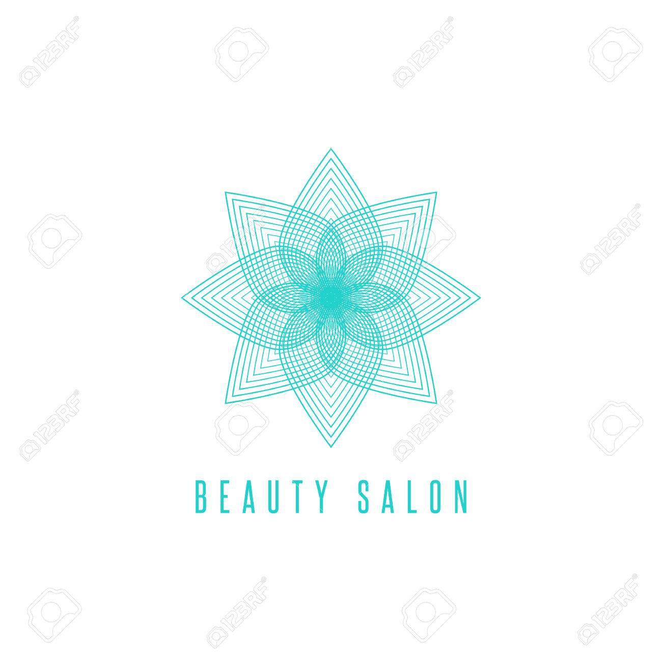 Flower Logo Monogram, Thin Line Style Floral Beauty Salon Emblem ...