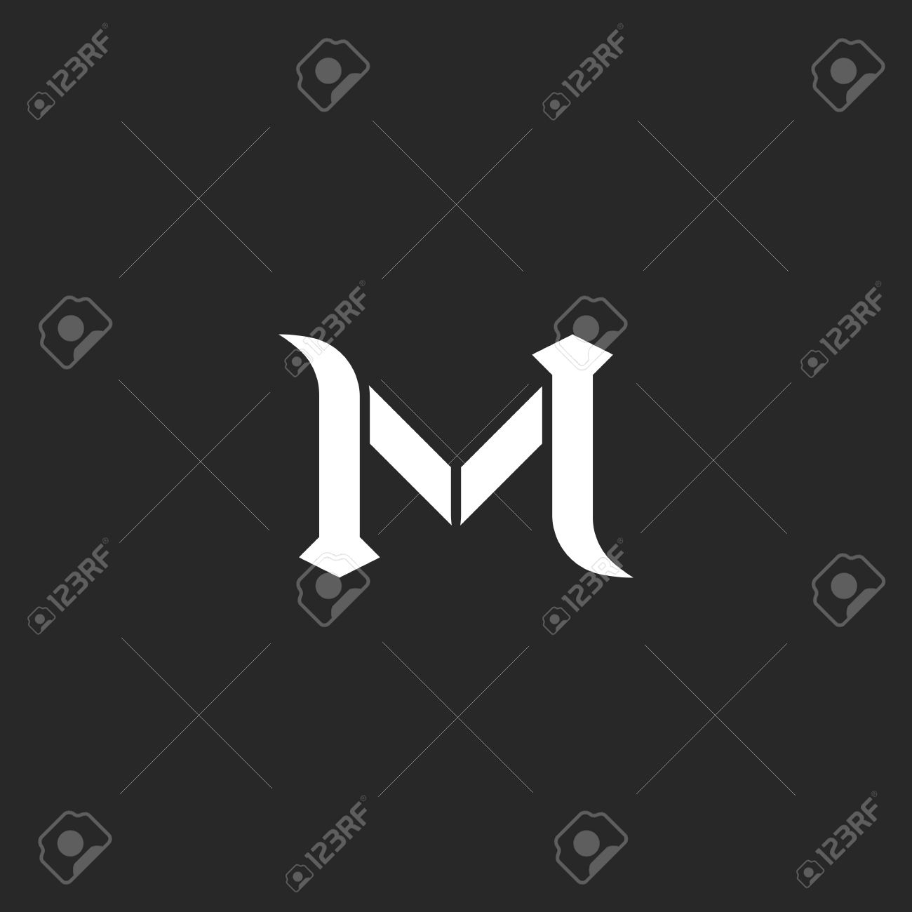 letter m logo medieval style wedding invitation mockup vintage calligraphic design element for business