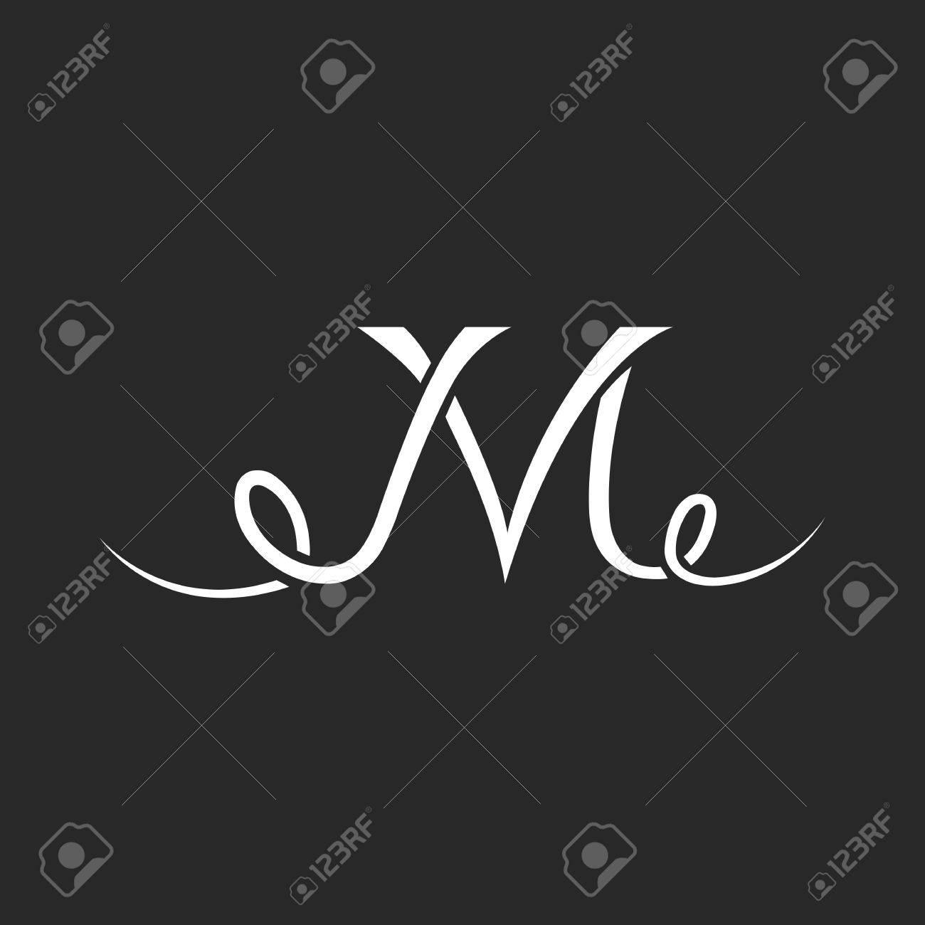 Monogramme Tatouage M Lettre Logo Chevauchement De Ligne Mince
