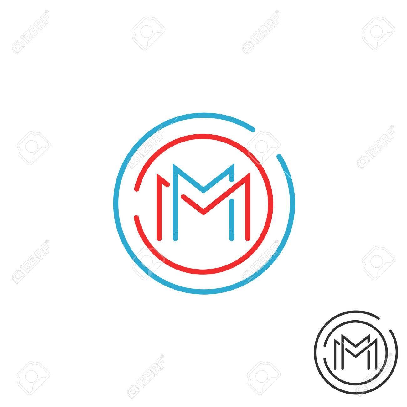 Letra M Icono Del Marco Del Círculo Del Monograma, Burlarse De Línea ...