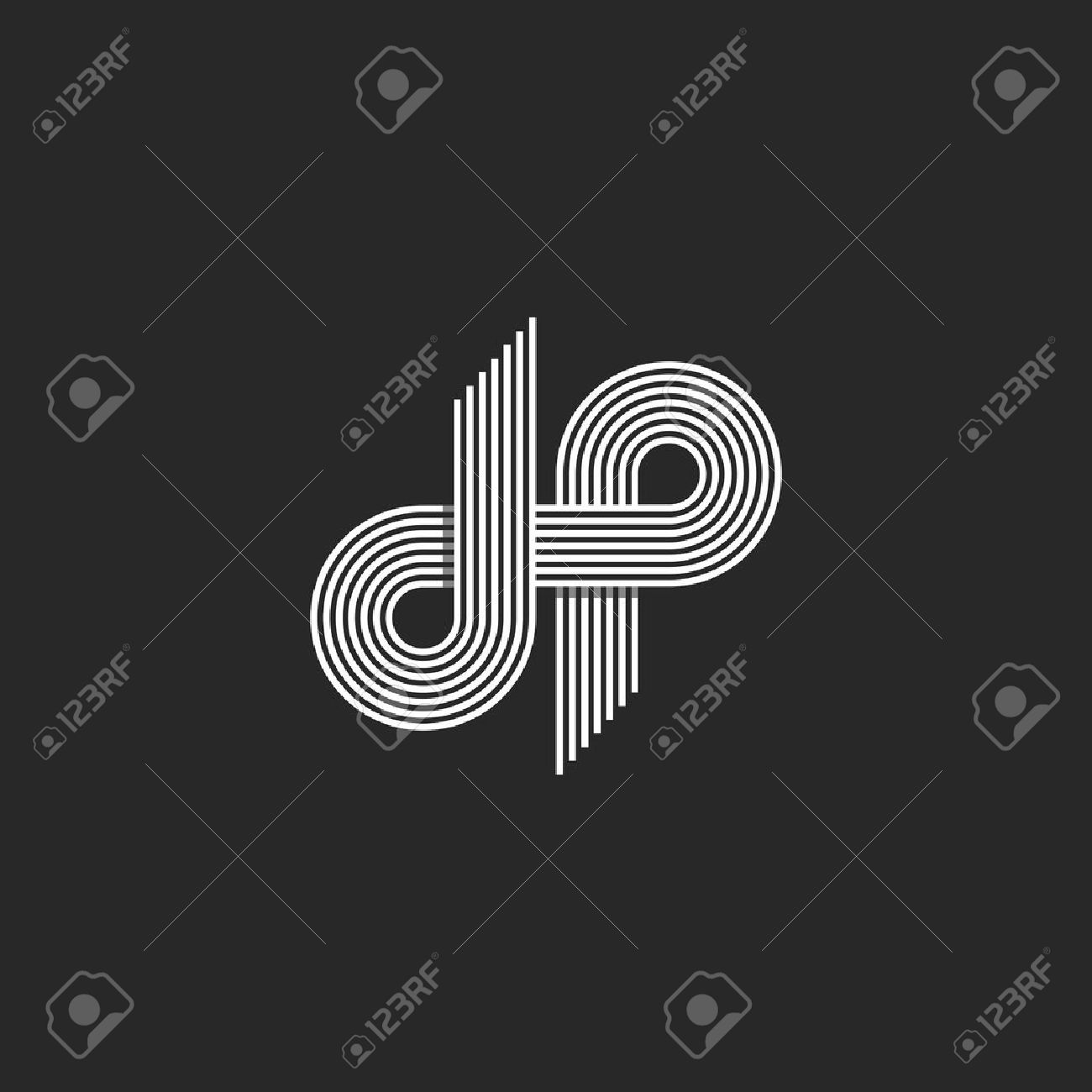 Logo dp letter monogram offset thin line style overlapping design element d and