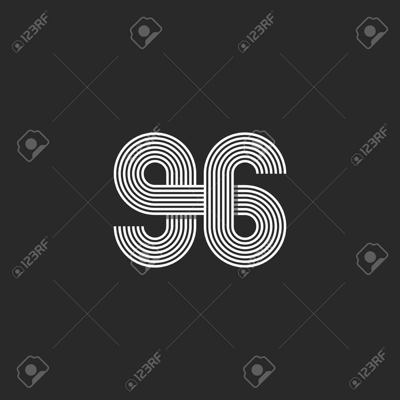 Number 96 creative offset thin line monogram, modern mockup print t-shirt  Stock Vector