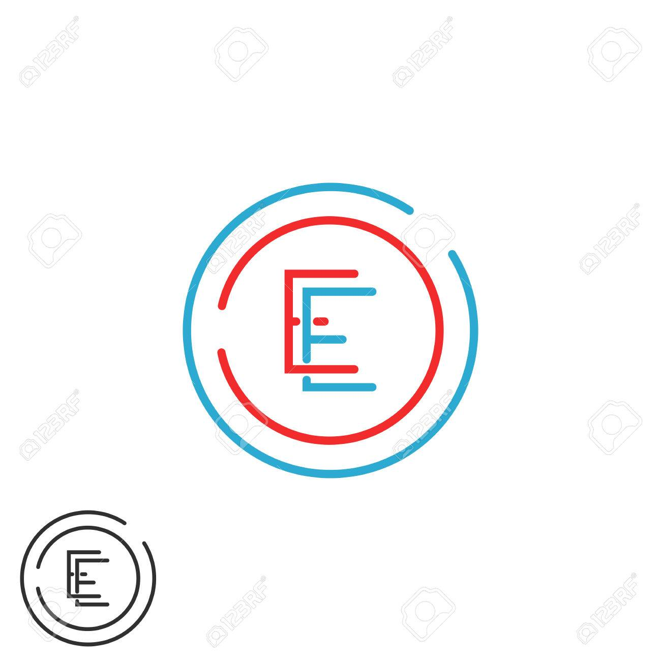 Letter E Monogram, Combination EE Circle Frame, Red And Blue ...