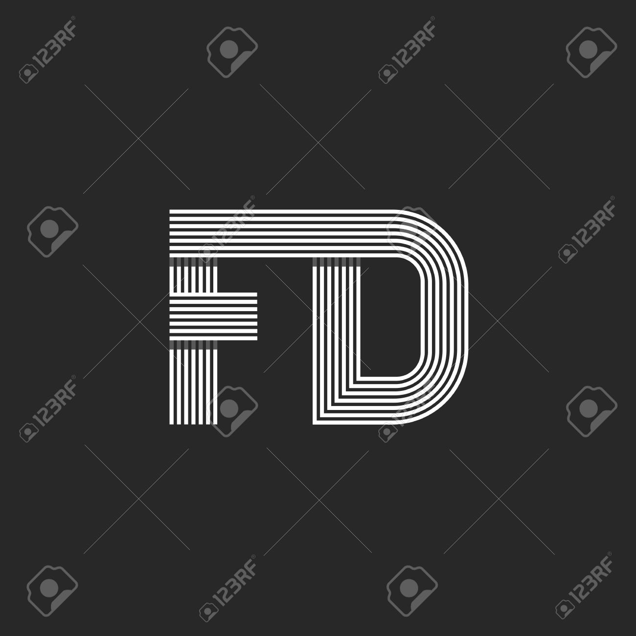 Combination Letter FD Together Monogram Mockup, F D Calm Symbols ...
