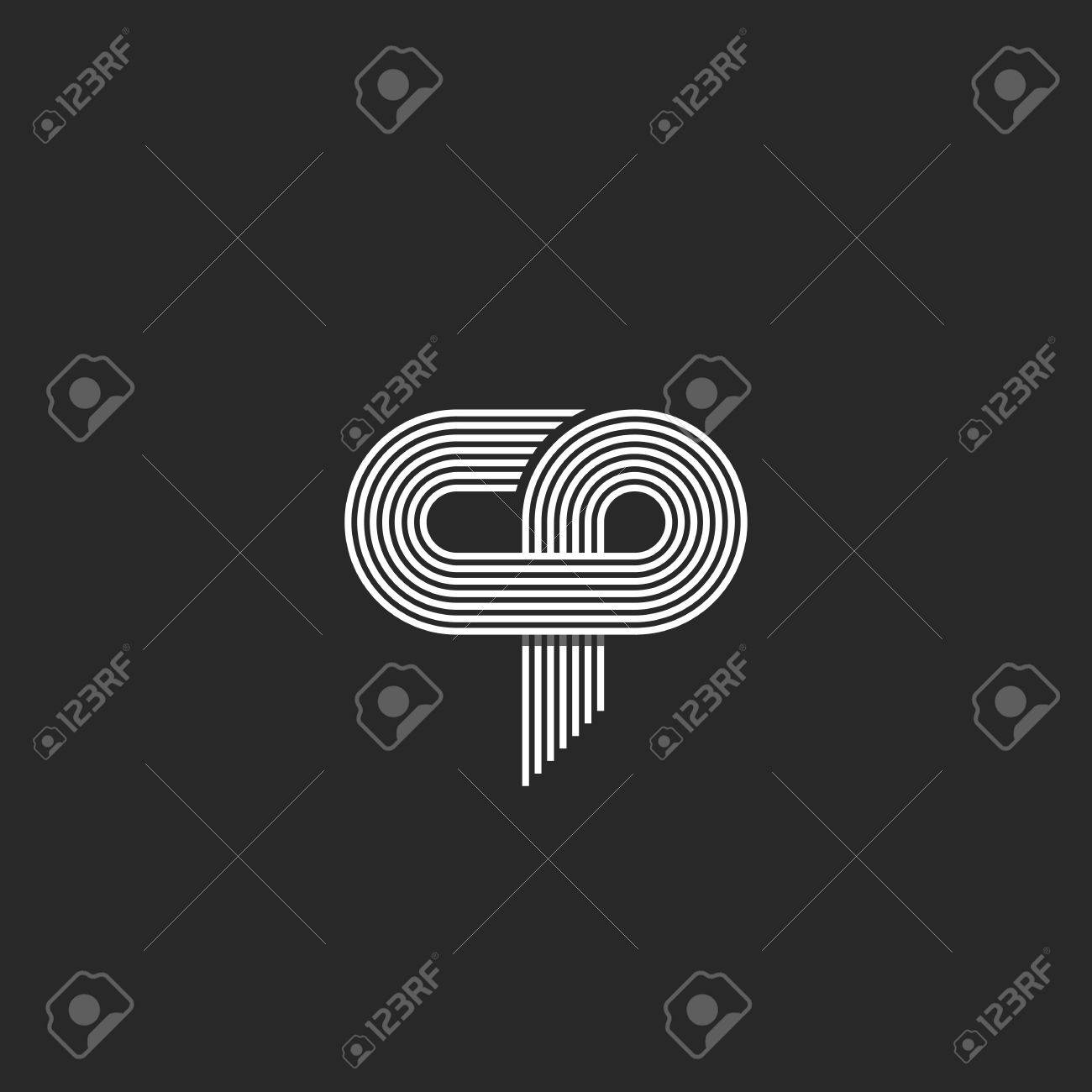 Initials Cp Letter, Parallel Thin Line Monogram Union C P Symbol ...
