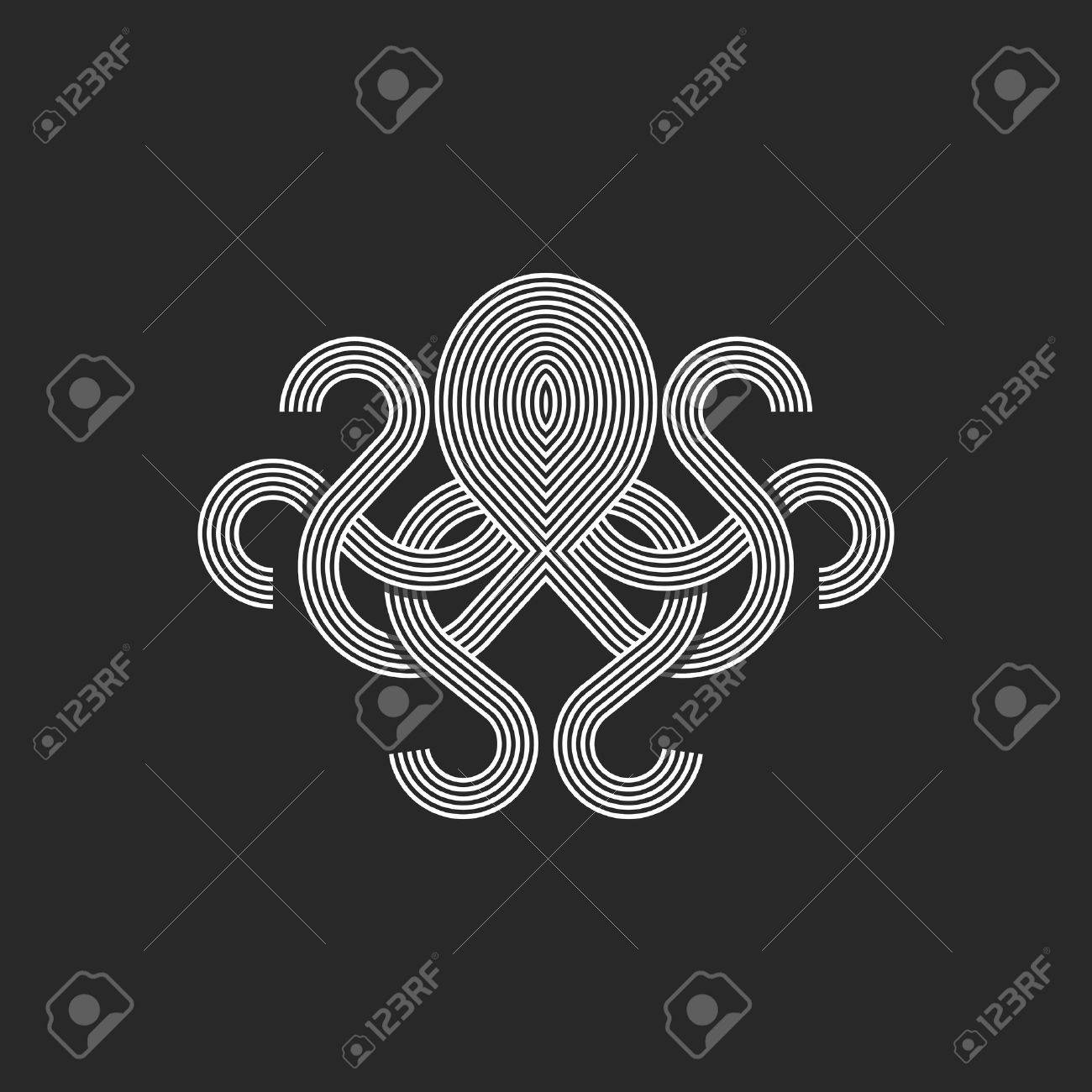 Silhouette Octopus Logo Monogram Mockup Seafood Restaurant Linear