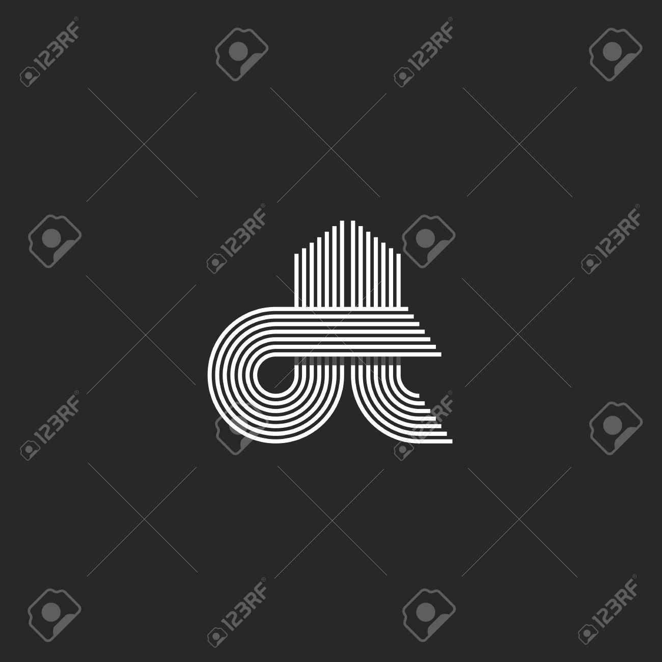 Monogramm Paar Buchstaben Dt, Hipster Hochzeit Einladung Dünne Linie  Emblem, Modernes Initialen Visitenkarte Dekoelement