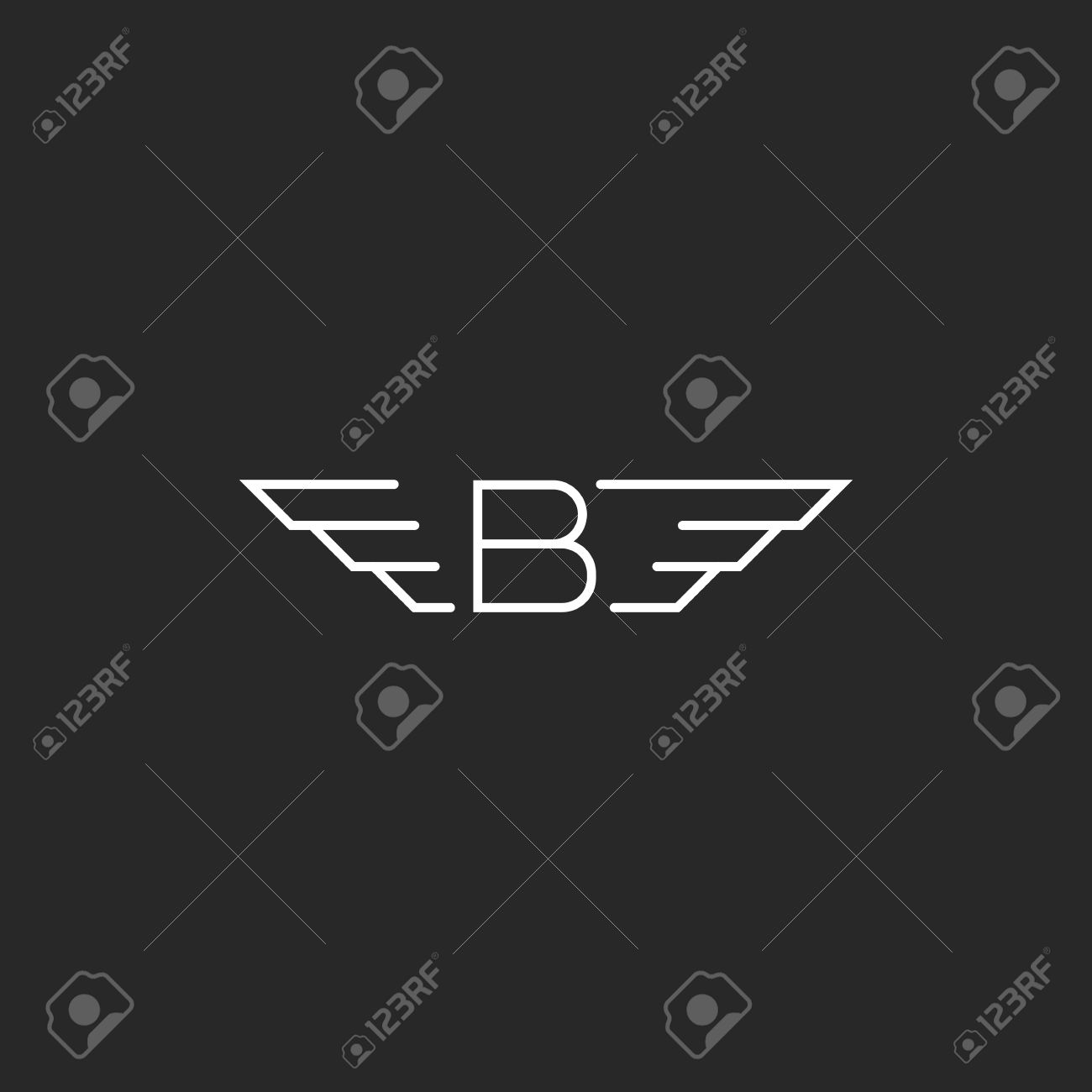 Winged Letter B Wings Monogram Emblem Black And White Graphic