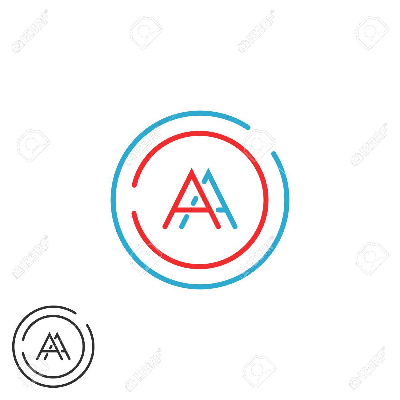 La Fusión De Dos Letras AA Monograma, Inconformista Azul Y Rojo Del ...