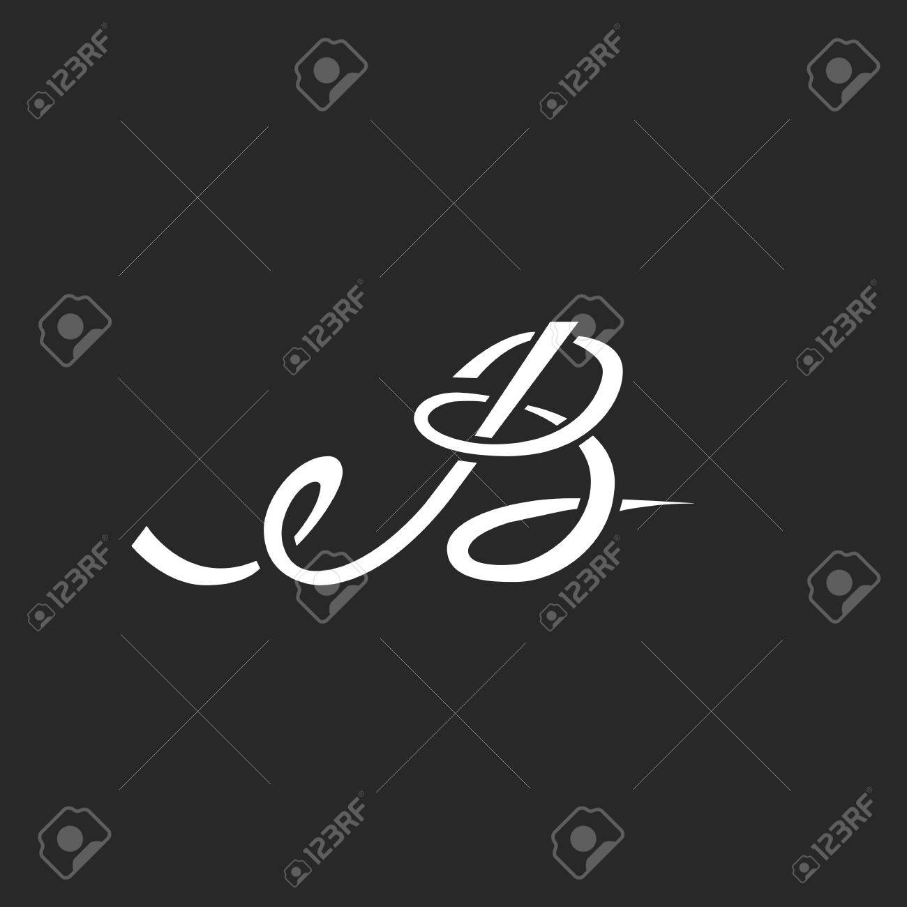 calligraphic letter b monogram intersection thin line style initial for wedding invitation mockup business