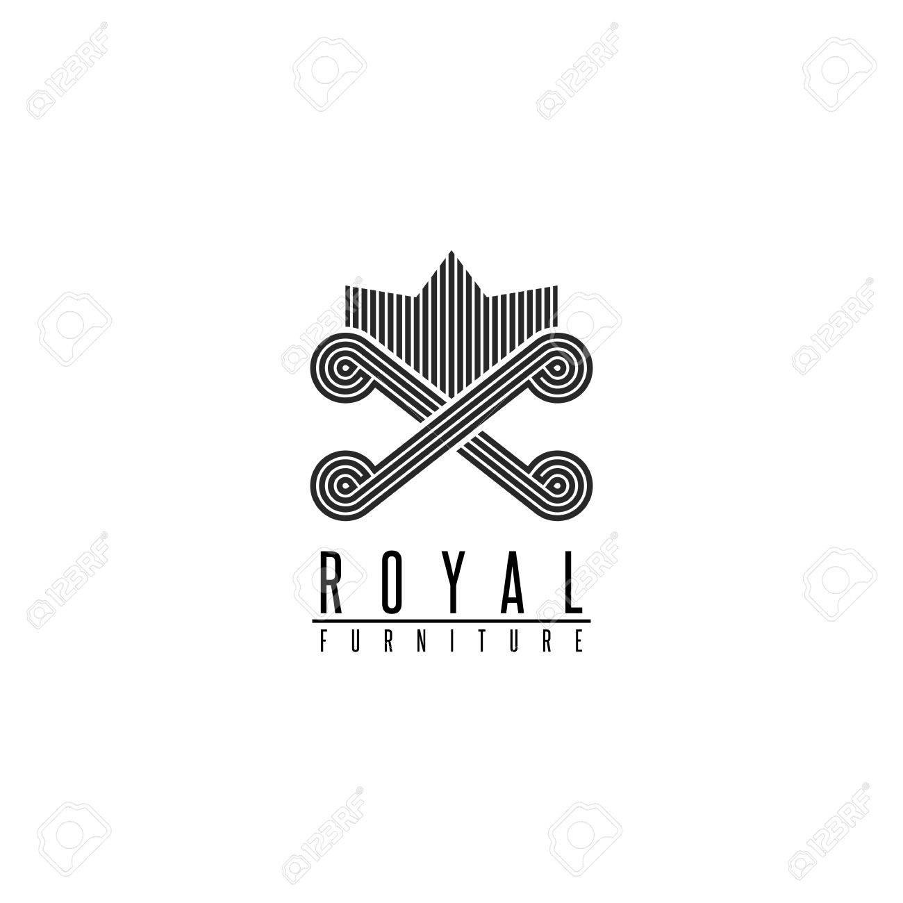 Furniture Logo Chair Monogram Form Throne, Back Sofa Crown Shape,  Comfortable Interior Icon Stock