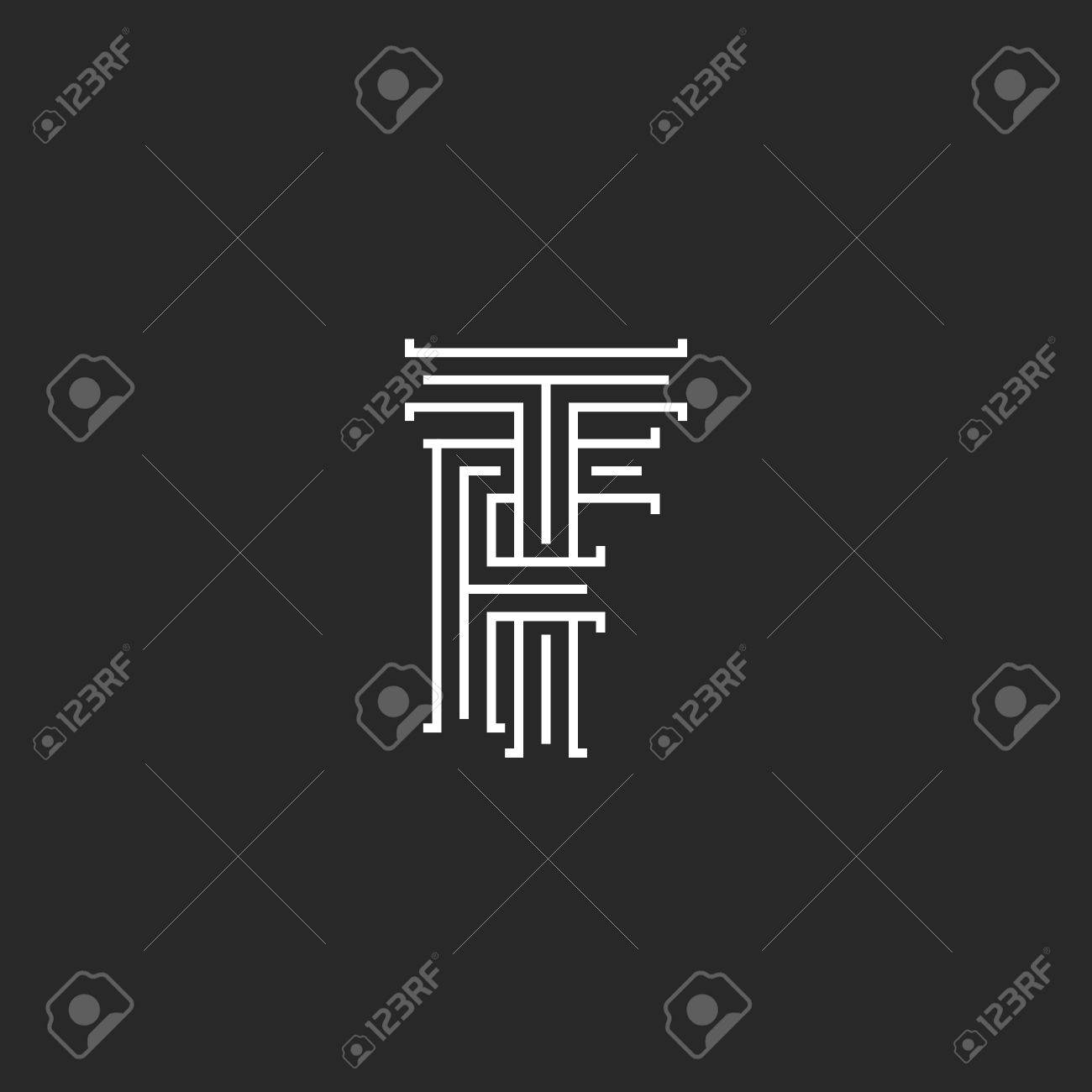 Initials TF Letters Monogram, Line Intersection Calligraphic ...