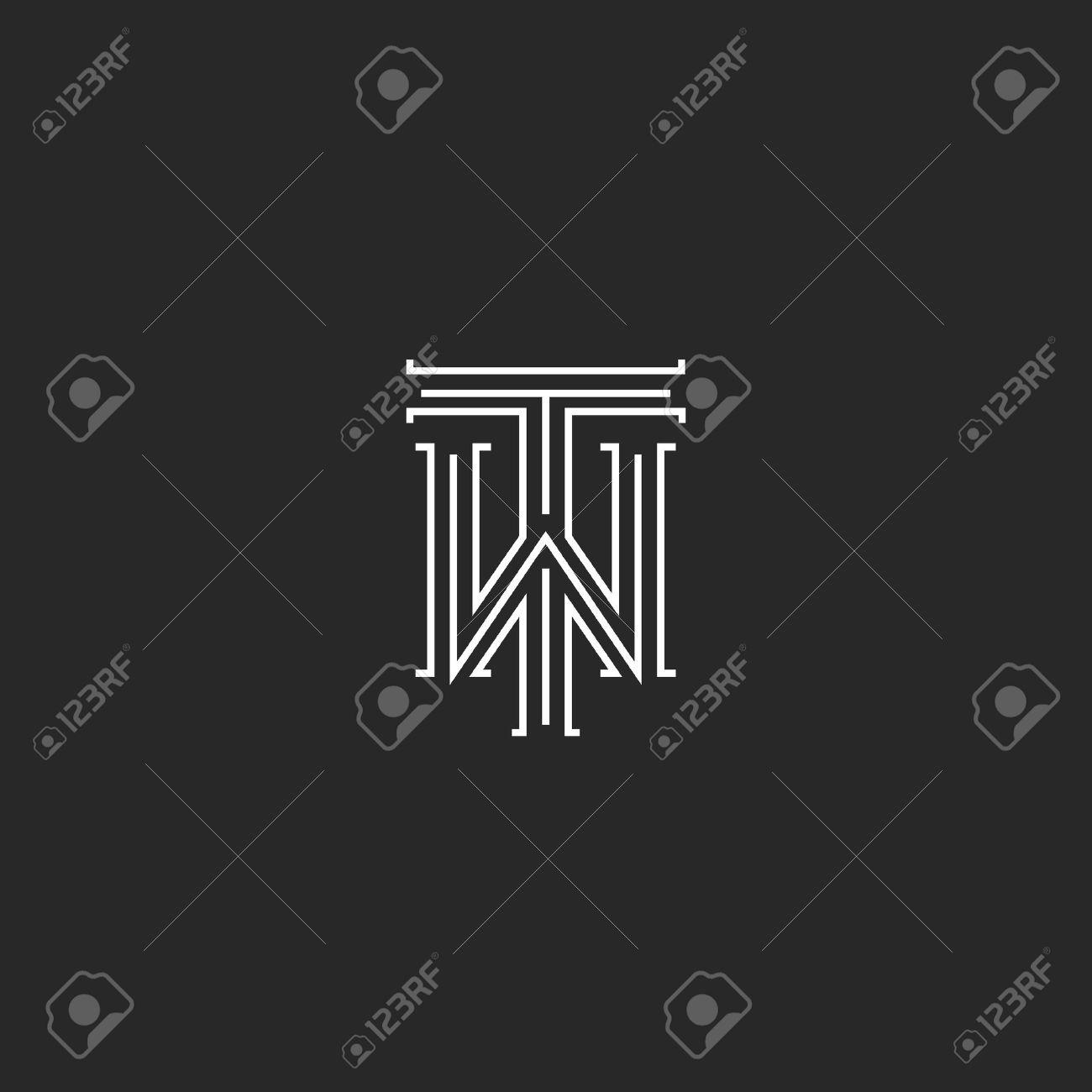 Standard Bild   TW Buchstaben Logo Mittelalterlichen Monogramm  Schwarz Weiß Kombination Kreuzung Initialen WT Für Hochzeit, Einladung  Emblem, ...
