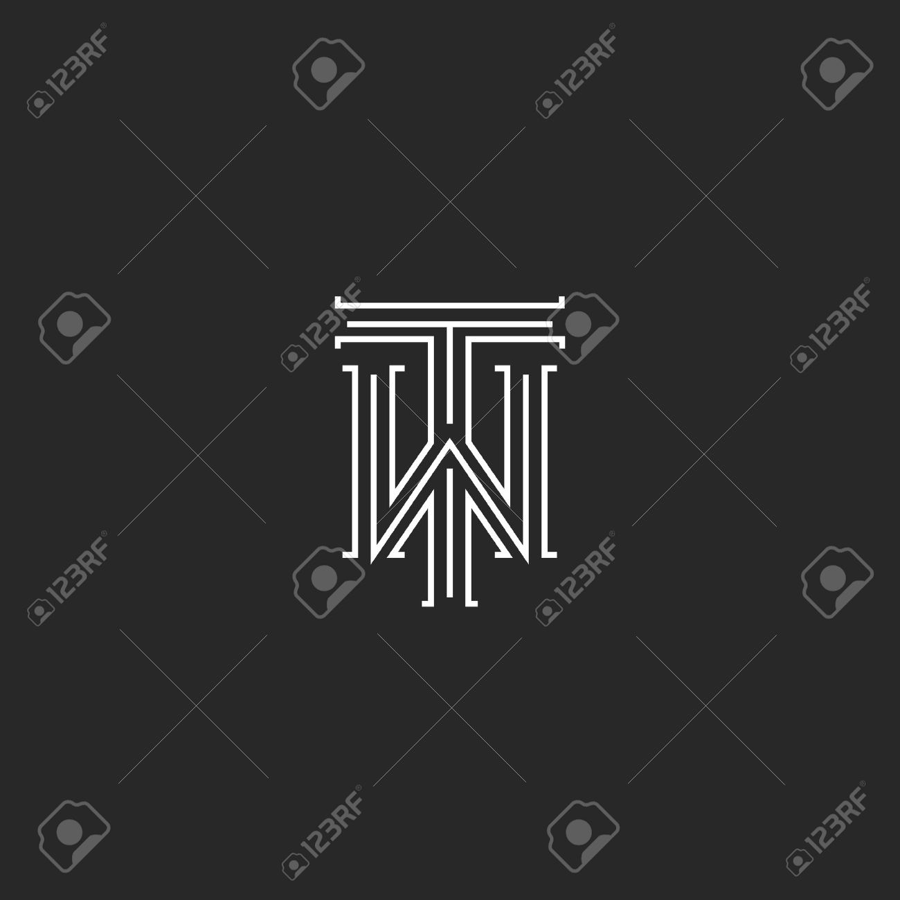 tw letters logo medieval monogram black and white combination intersection initials wt for wedding invitation emblem