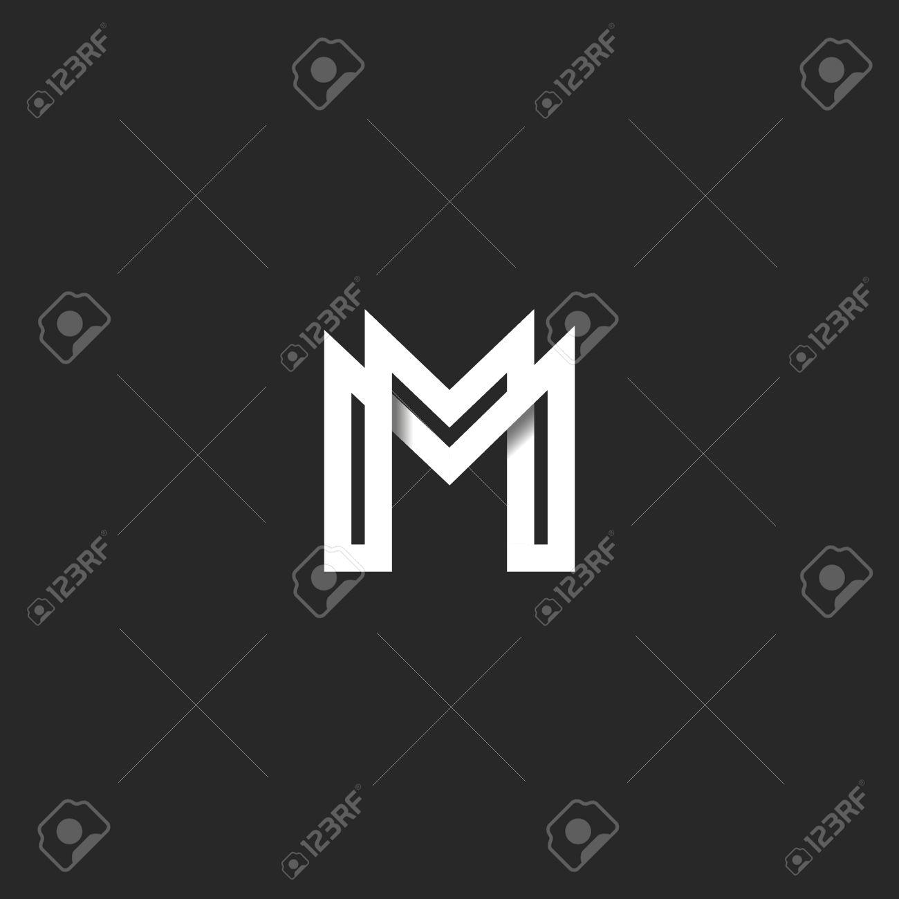 Letter M Logo Monogram Overlapping Line Mark Mm Initials