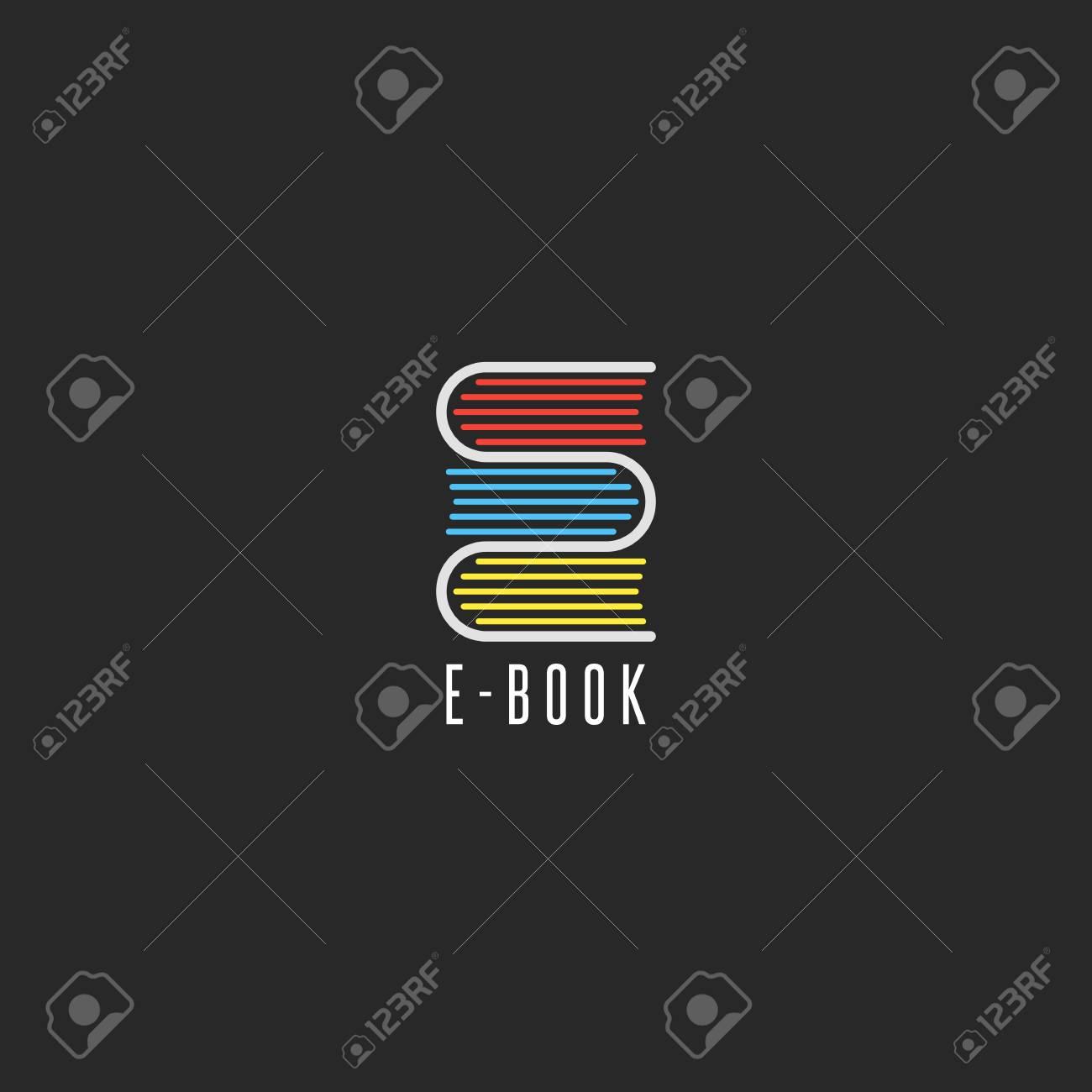 E-book bookstore logo, online school education emblem mockup,