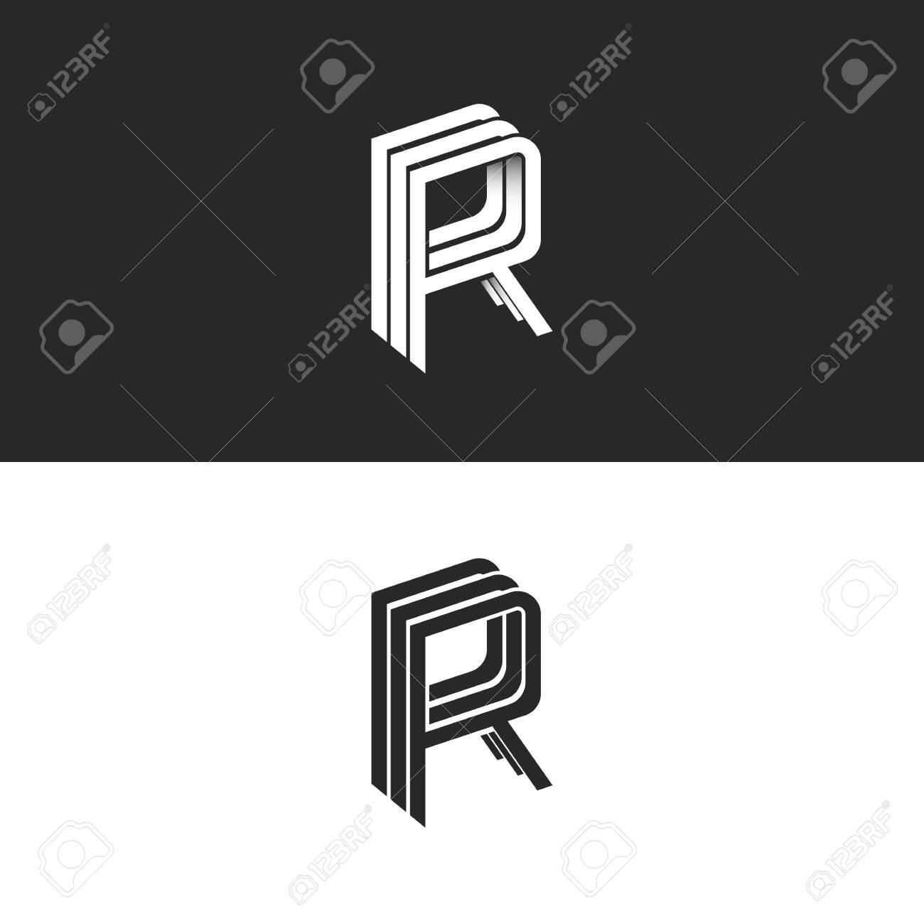 Letter r logo isometric emblem rrr symbol black and white letter r logo isometric emblem rrr symbol black and white monogram hipster design element template biocorpaavc