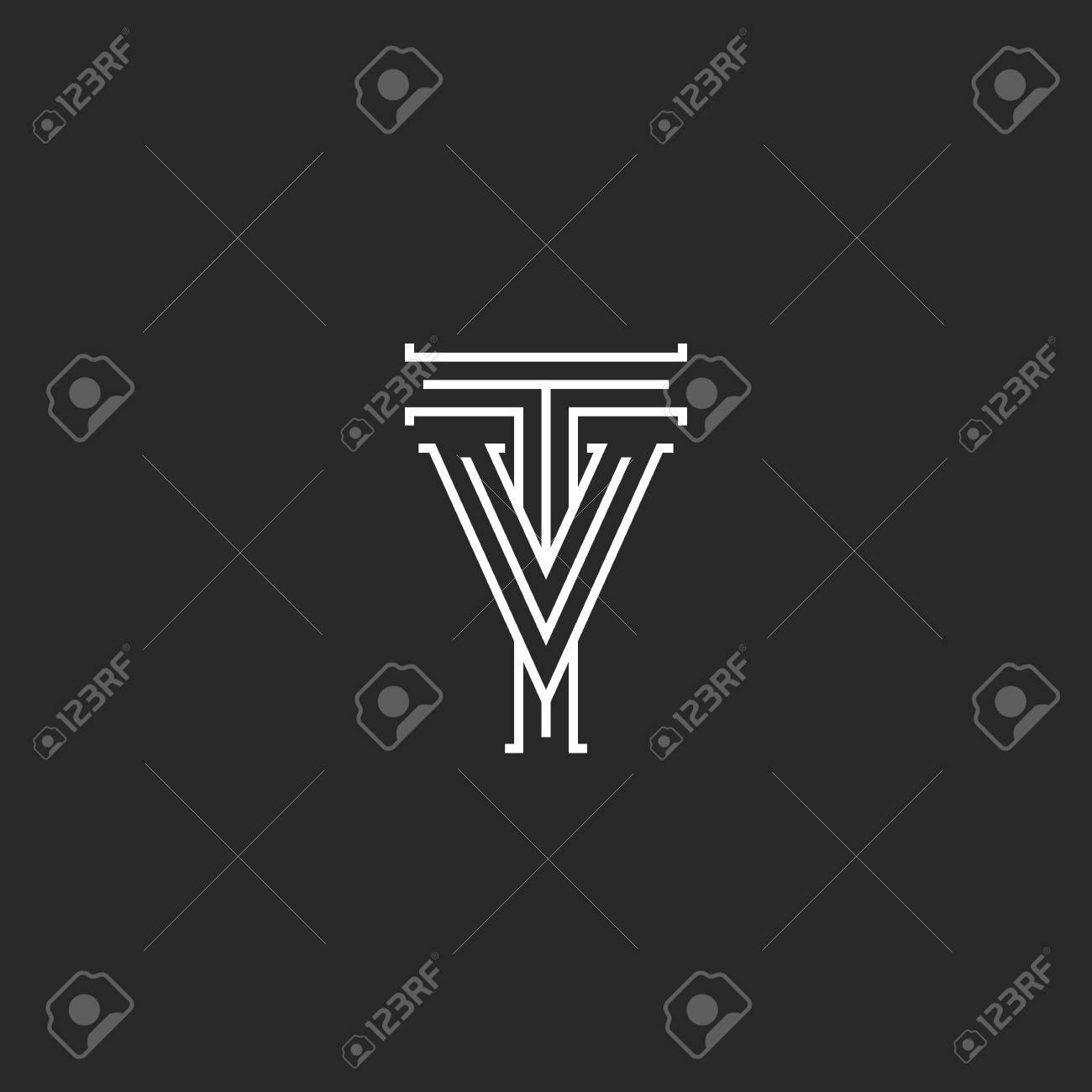 TV Letras Logo Medieval Monograma, Blanco Y Negro Líneas Delgadas ...