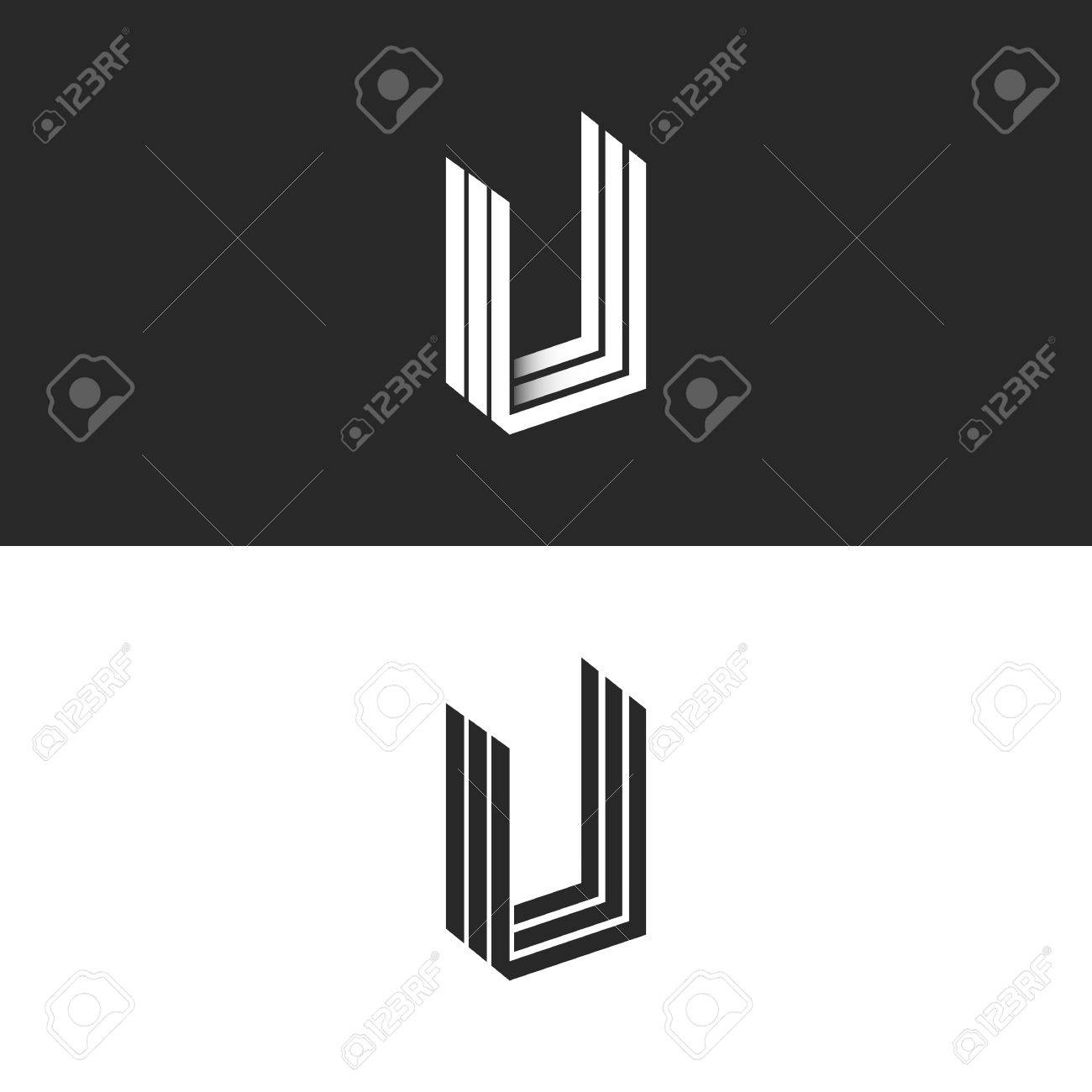 letter u logo isometric geometric shape perspective monogram