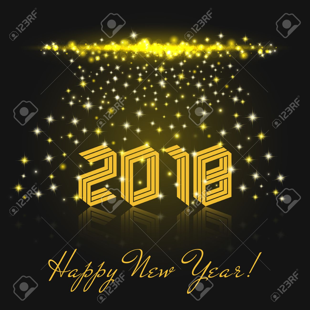 happy new year 2018 yellow isometric text winter holiday greeting card template vector illustration