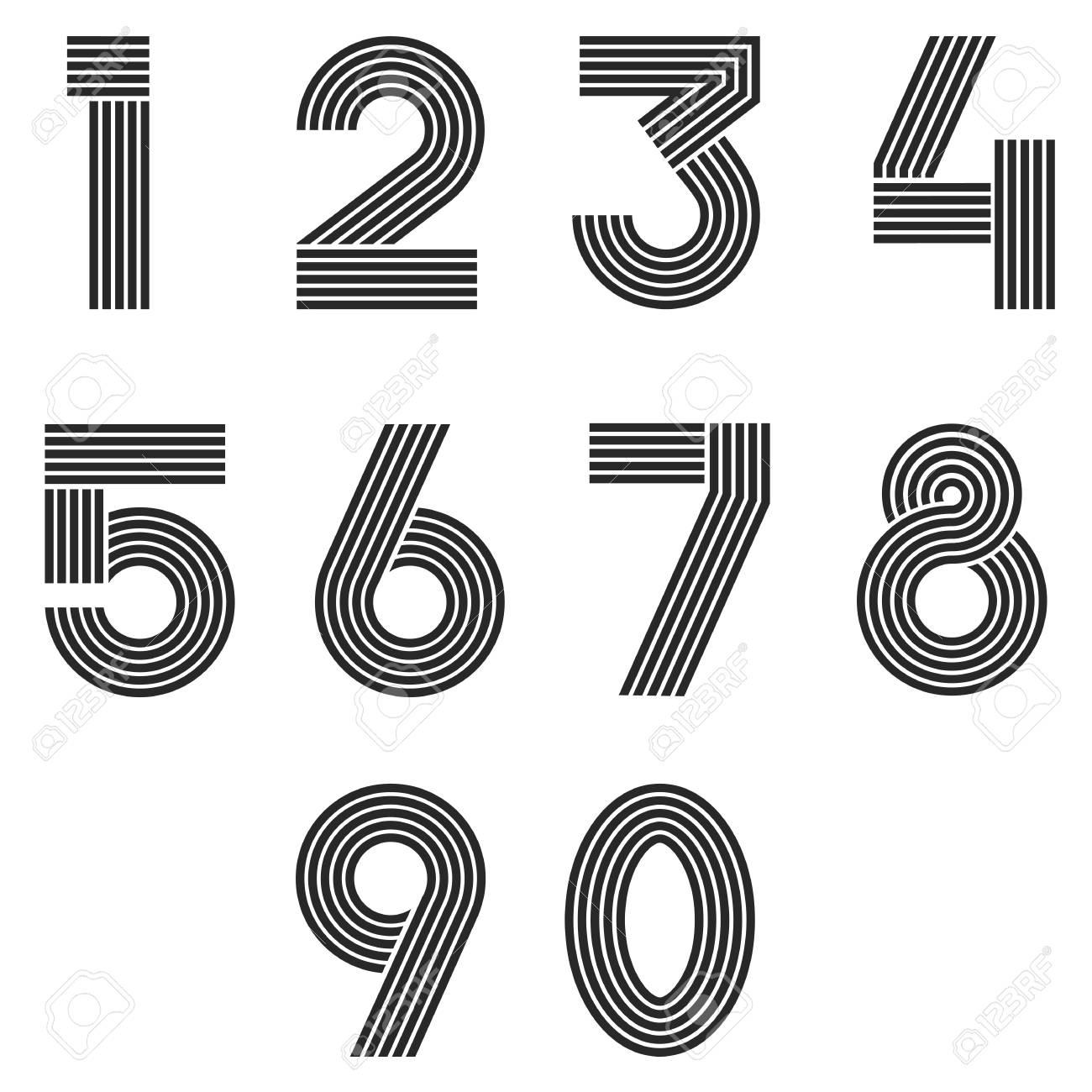 numbers set thin line monogram math symbols, linear black and